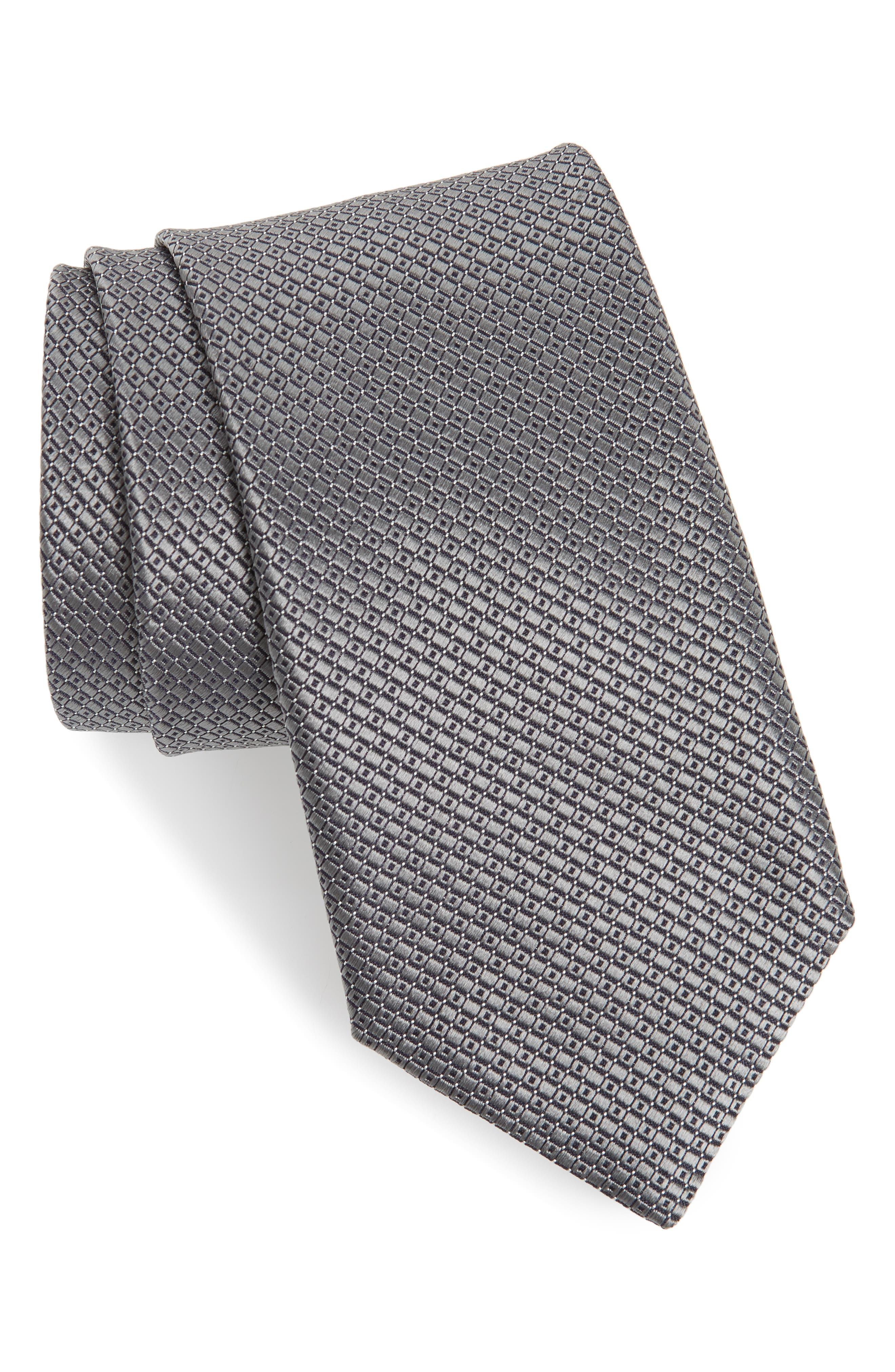 CANALI, Geometric Silk Tie, Main thumbnail 1, color, SILVER