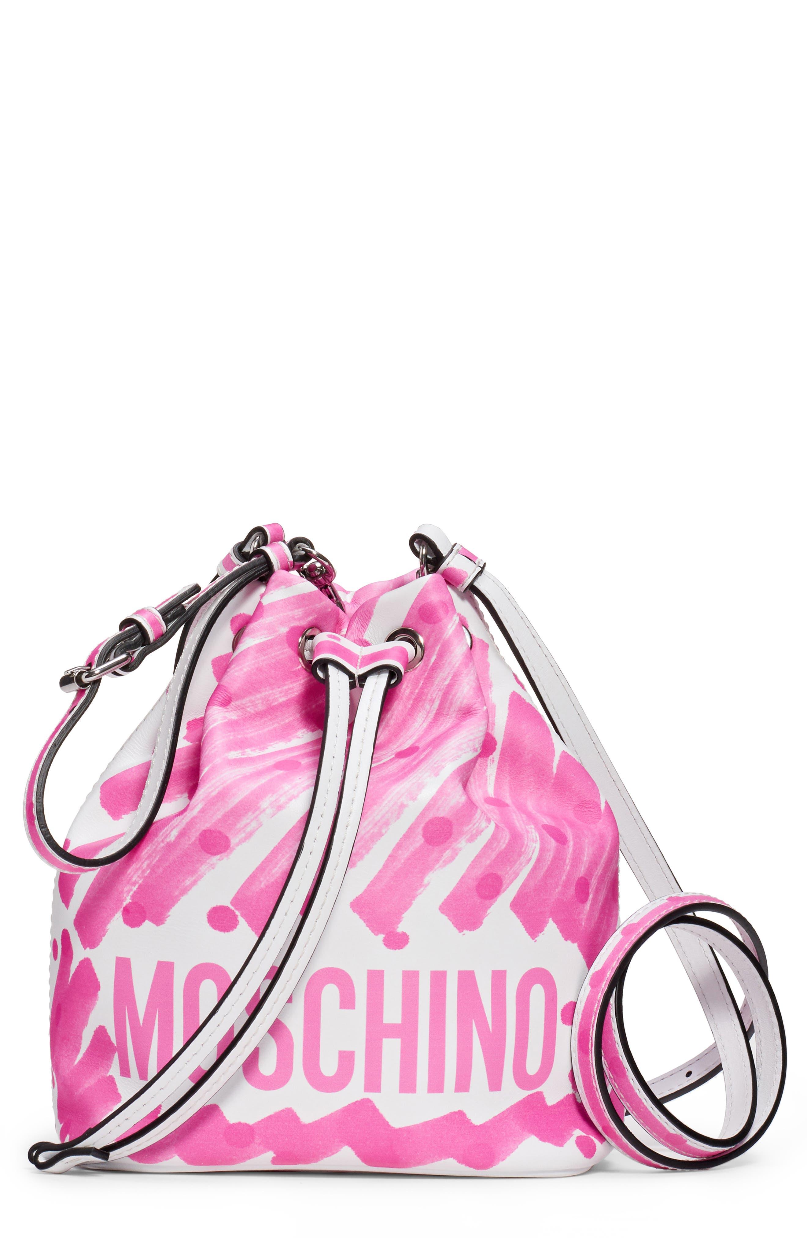 MOSCHINO, Scribble Dot Bucket Bag, Main thumbnail 1, color, FANTASY PRINT FUSCHIA