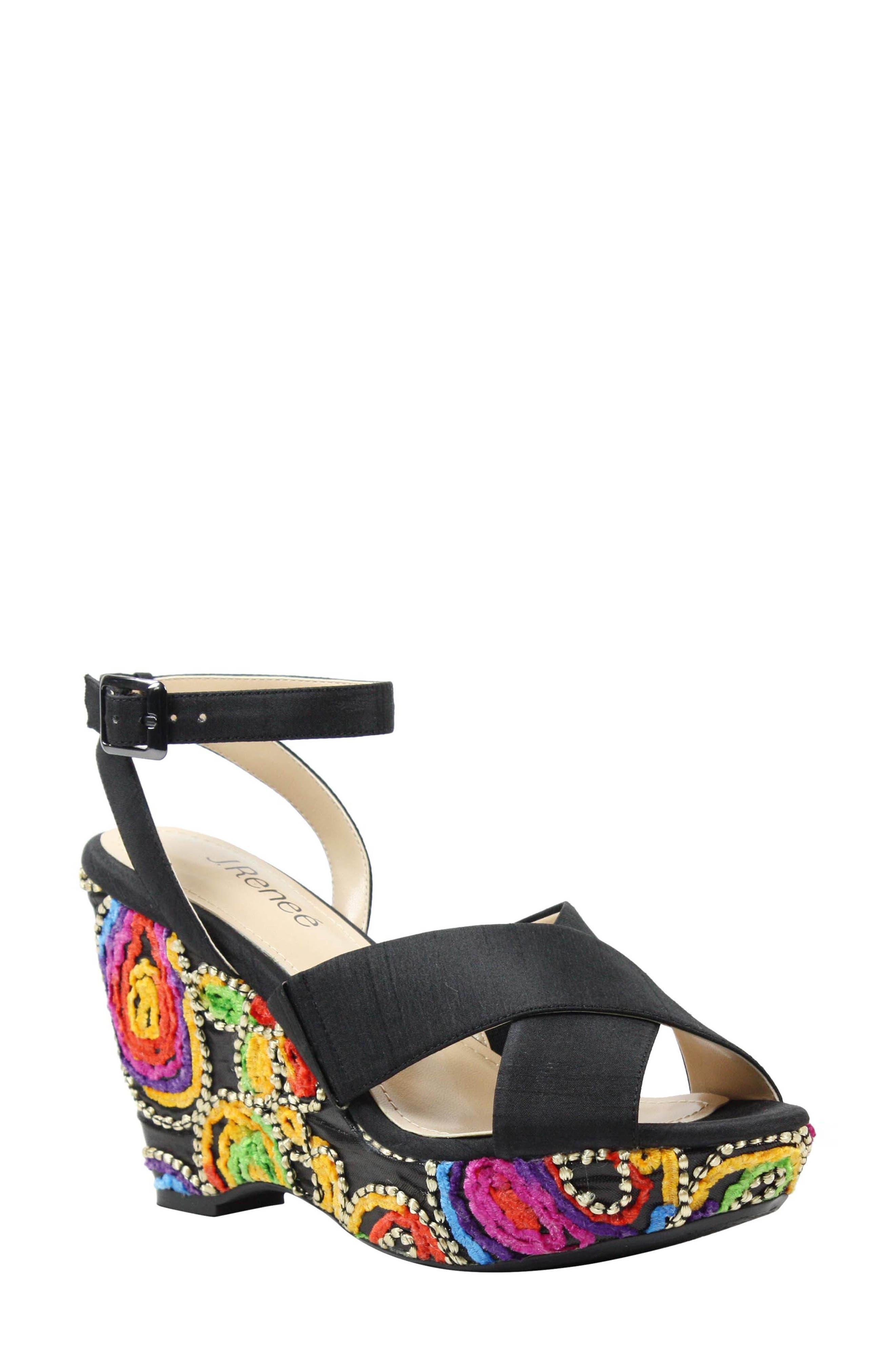J. RENEÉ Viollette Wedge Sandal, Main, color, 001