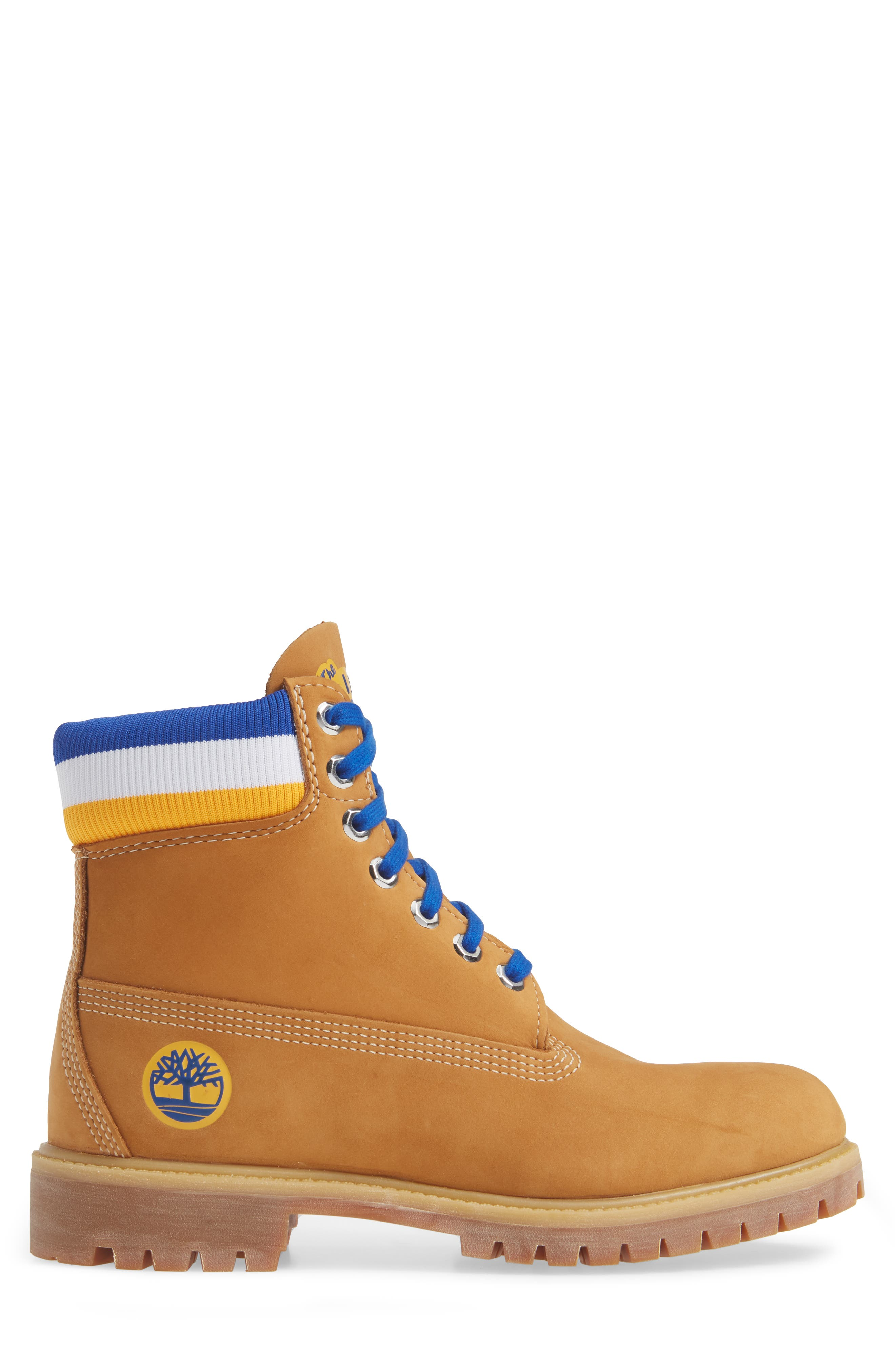 TIMBERLAND, Premium NBA Collection Boot, Alternate thumbnail 3, color, WHEAT NUBUCK/ GOLDEN STATE