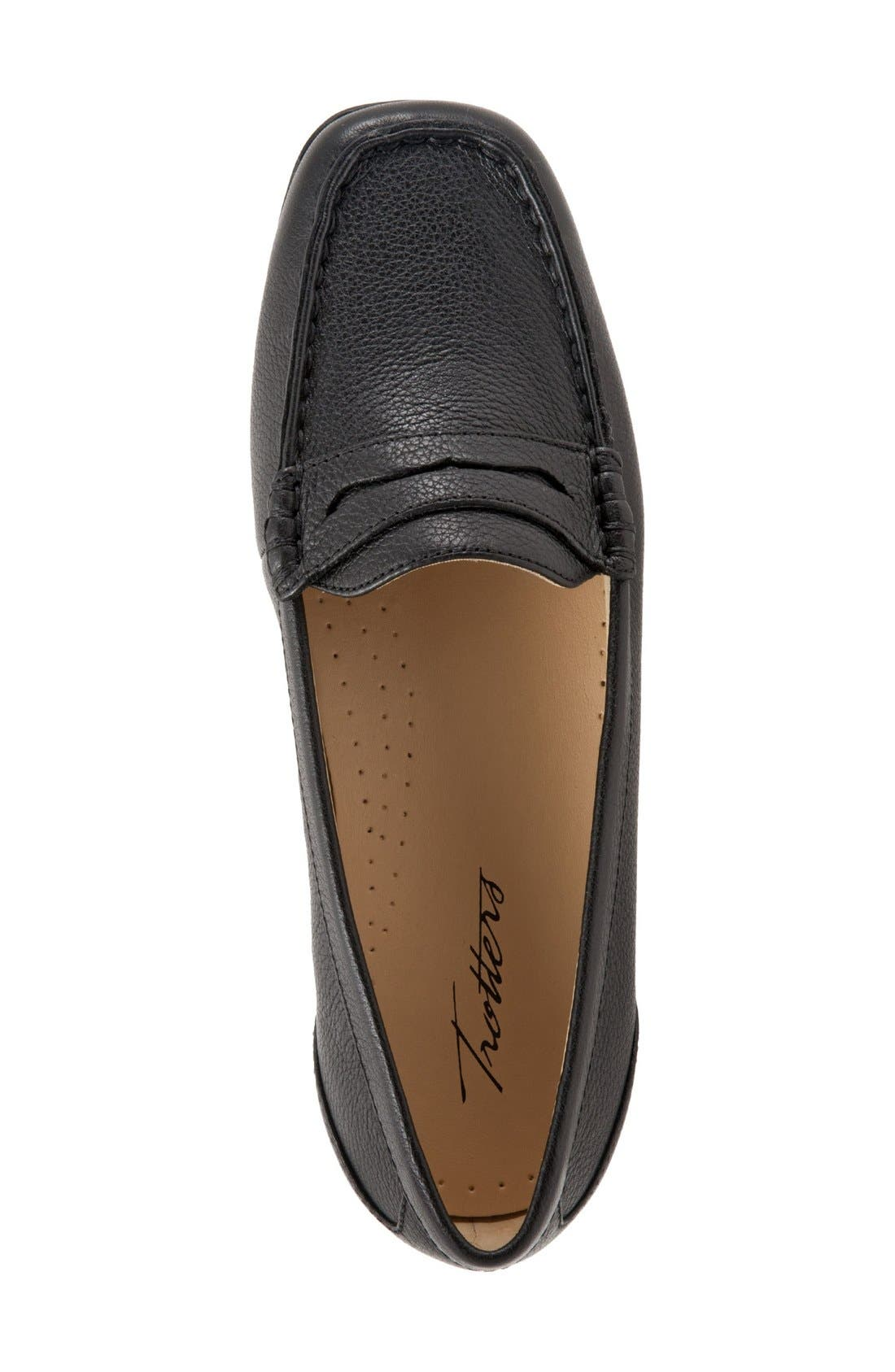TROTTERS, 'Staci' Penny Loafer, Alternate thumbnail 3, color, BLACK LEATHER