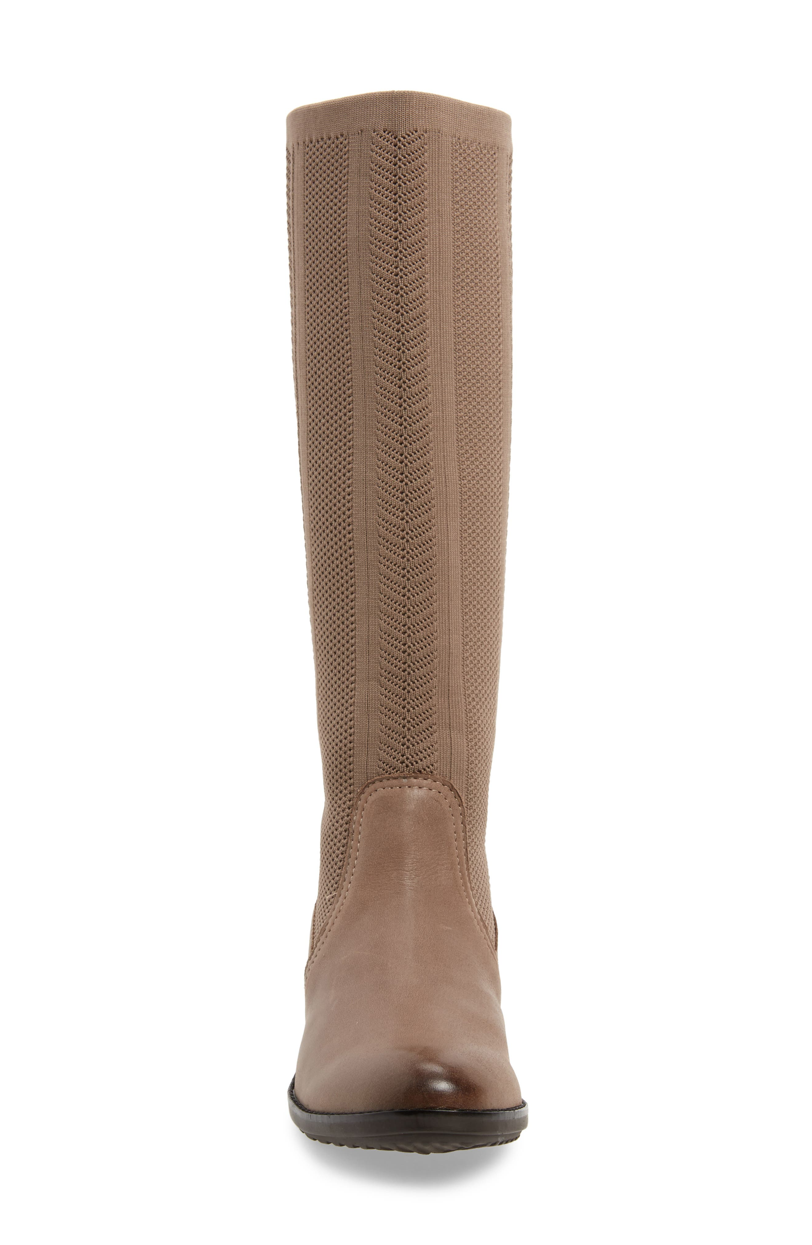 AETREX, Belle Sock Knit Shaft Boot, Alternate thumbnail 4, color, TAN LEATHER