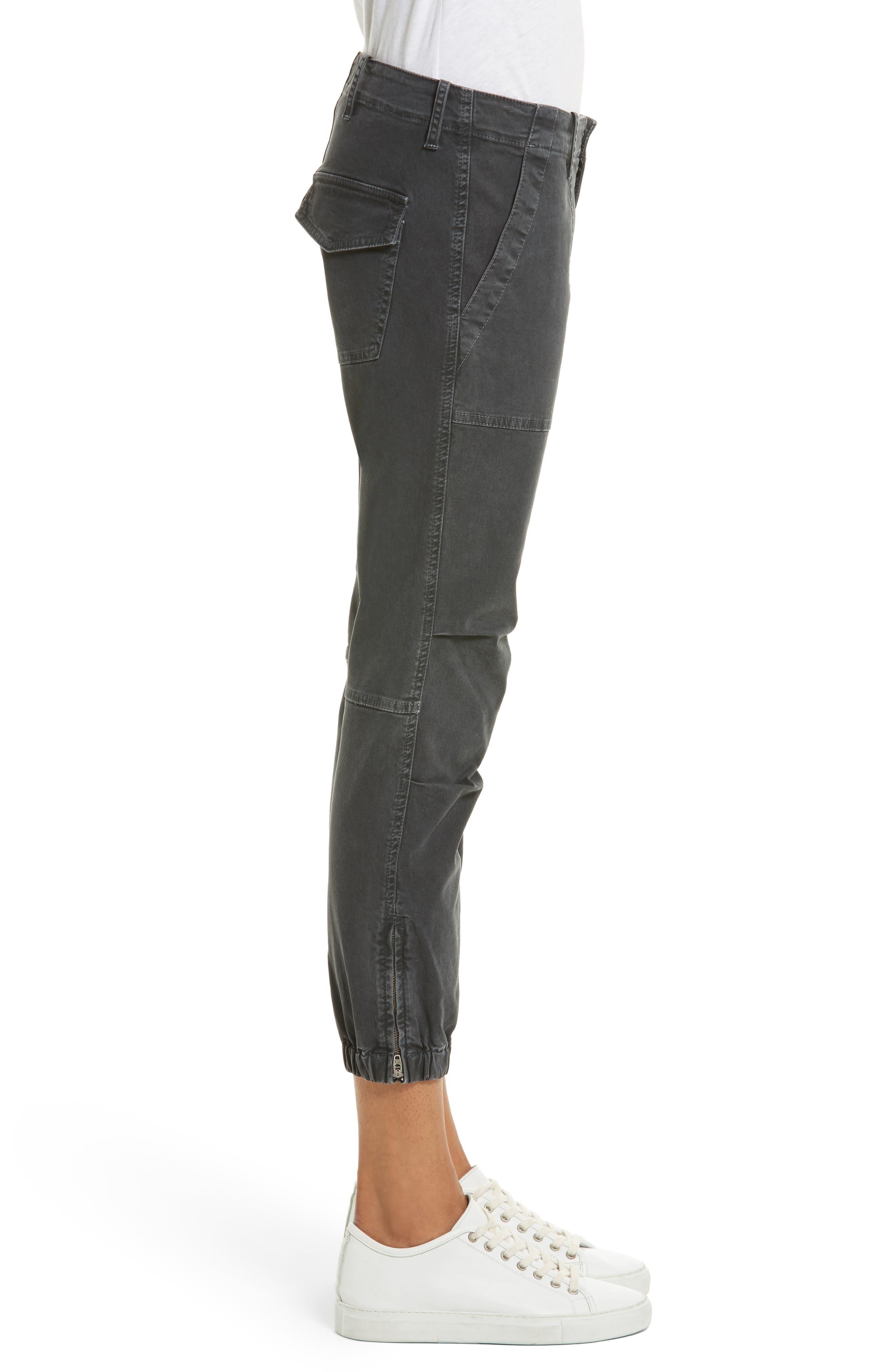 NILI LOTAN, Stretch Cotton Twill Crop Military Pants, Alternate thumbnail 4, color, CARBON