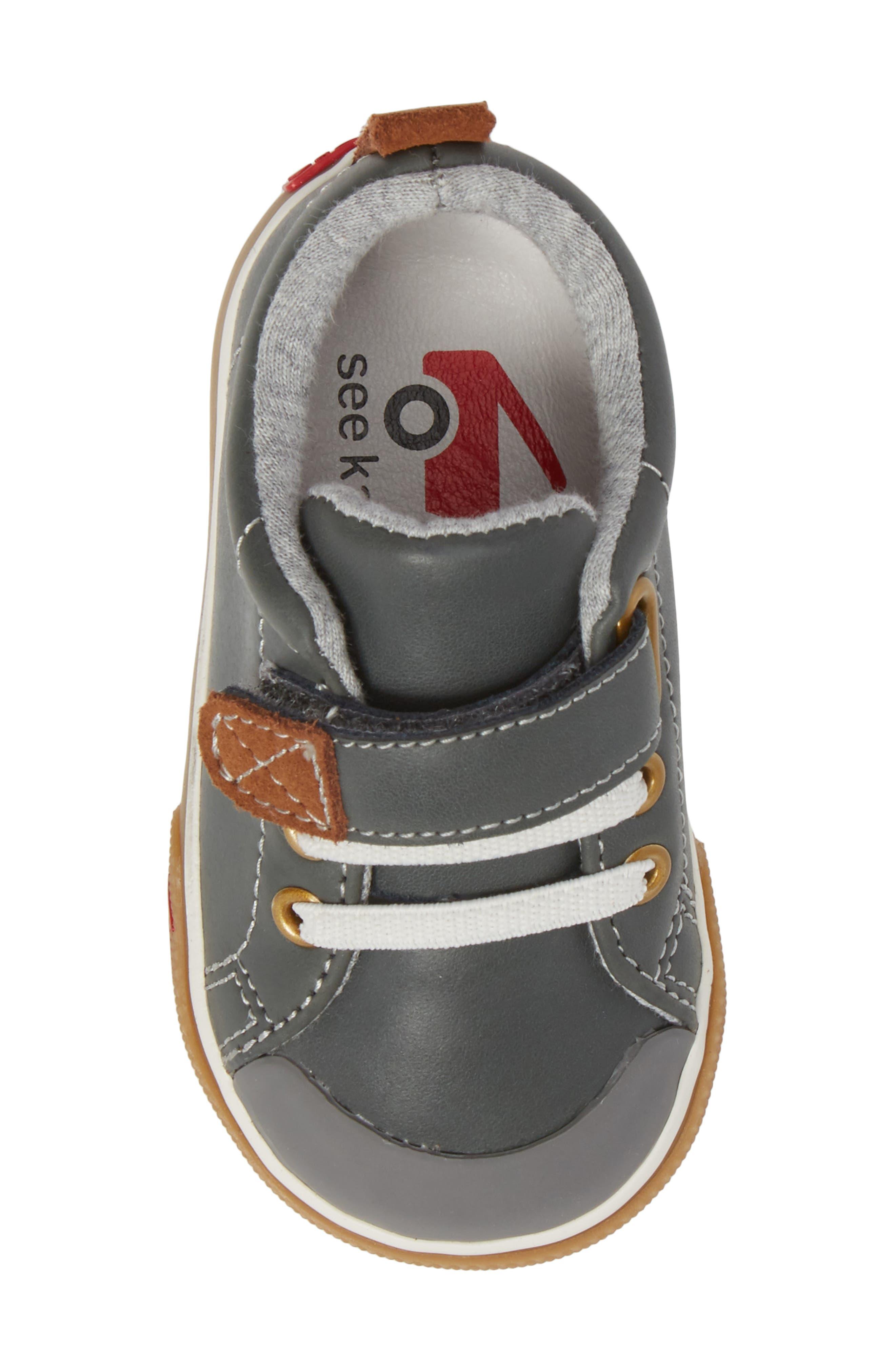 SEE KAI RUN, Stevie II Sneaker, Alternate thumbnail 5, color, GREY LEATHER