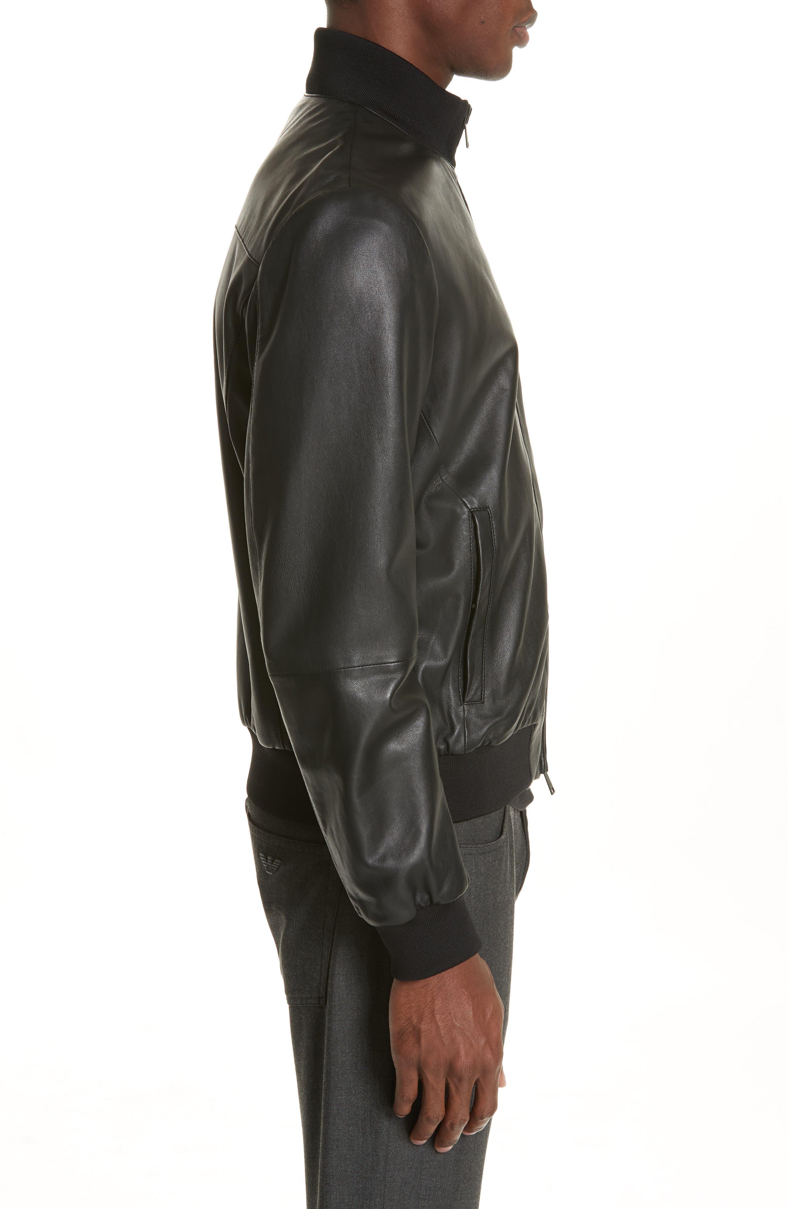 EMPORIO ARMANI, Leather Bomber Jacket, Alternate thumbnail 4, color, BLACK