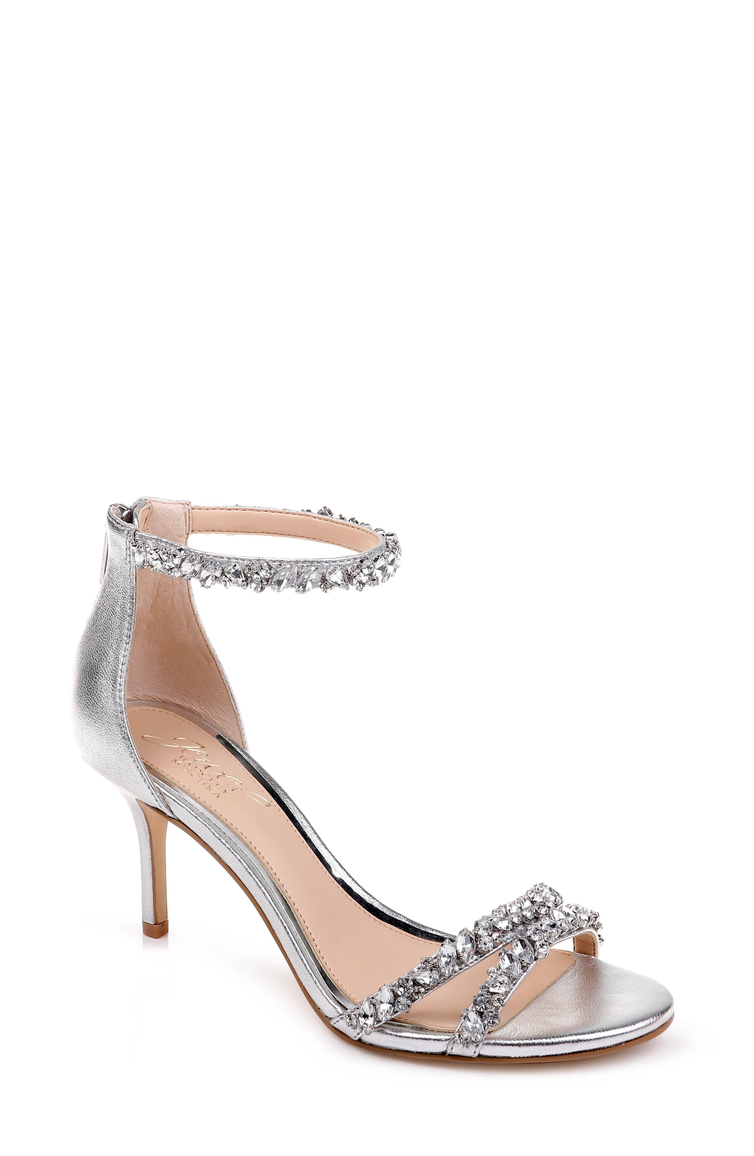 JEWEL BADGLEY MISCHKA, Darlene Embellished Ankle Strap Sandal, Main thumbnail 1, color, SILVER LEATHER