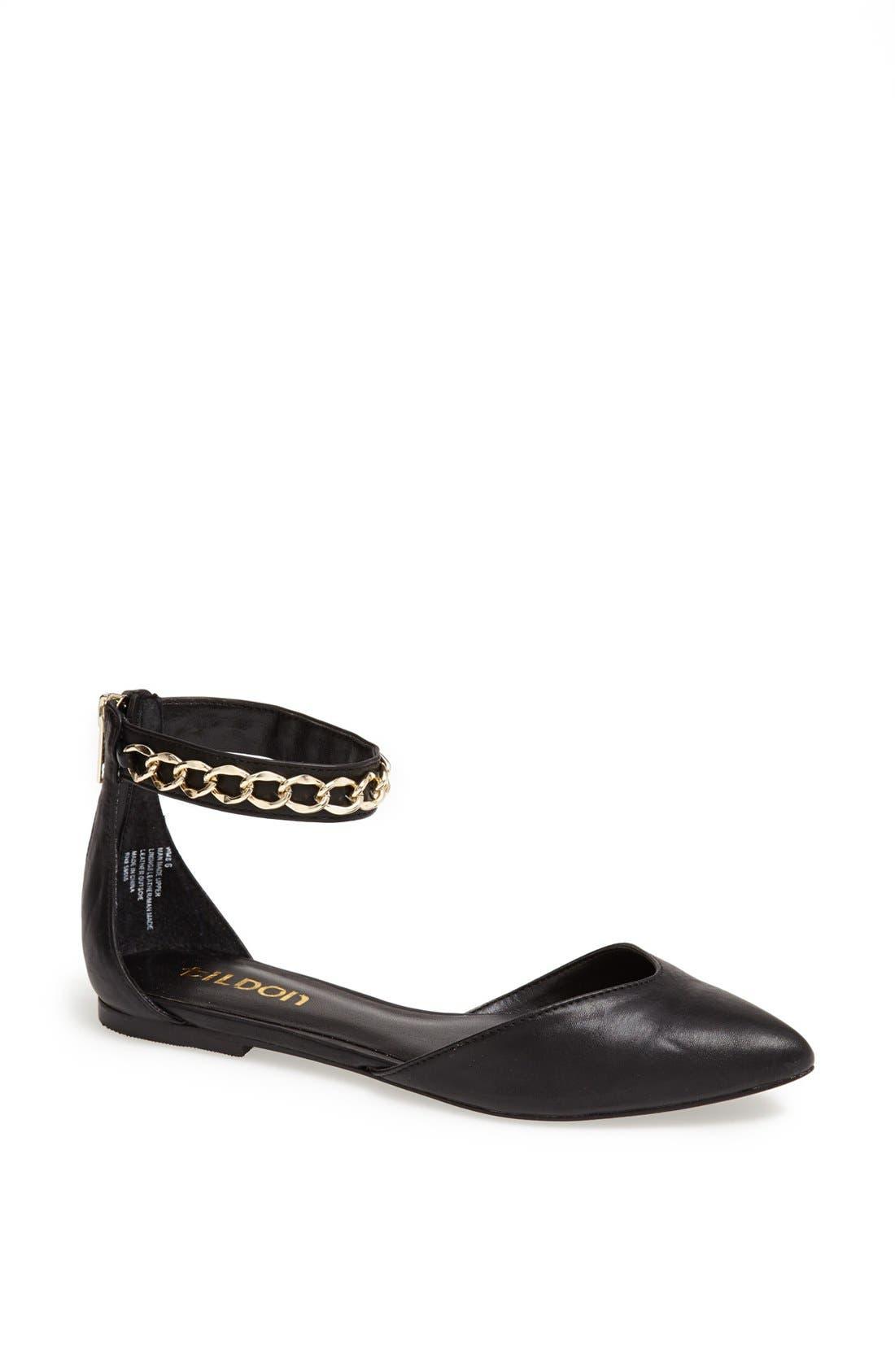 TILDON 'Anya' Ankle Strap D'Orsay Flat, Main, color, 001