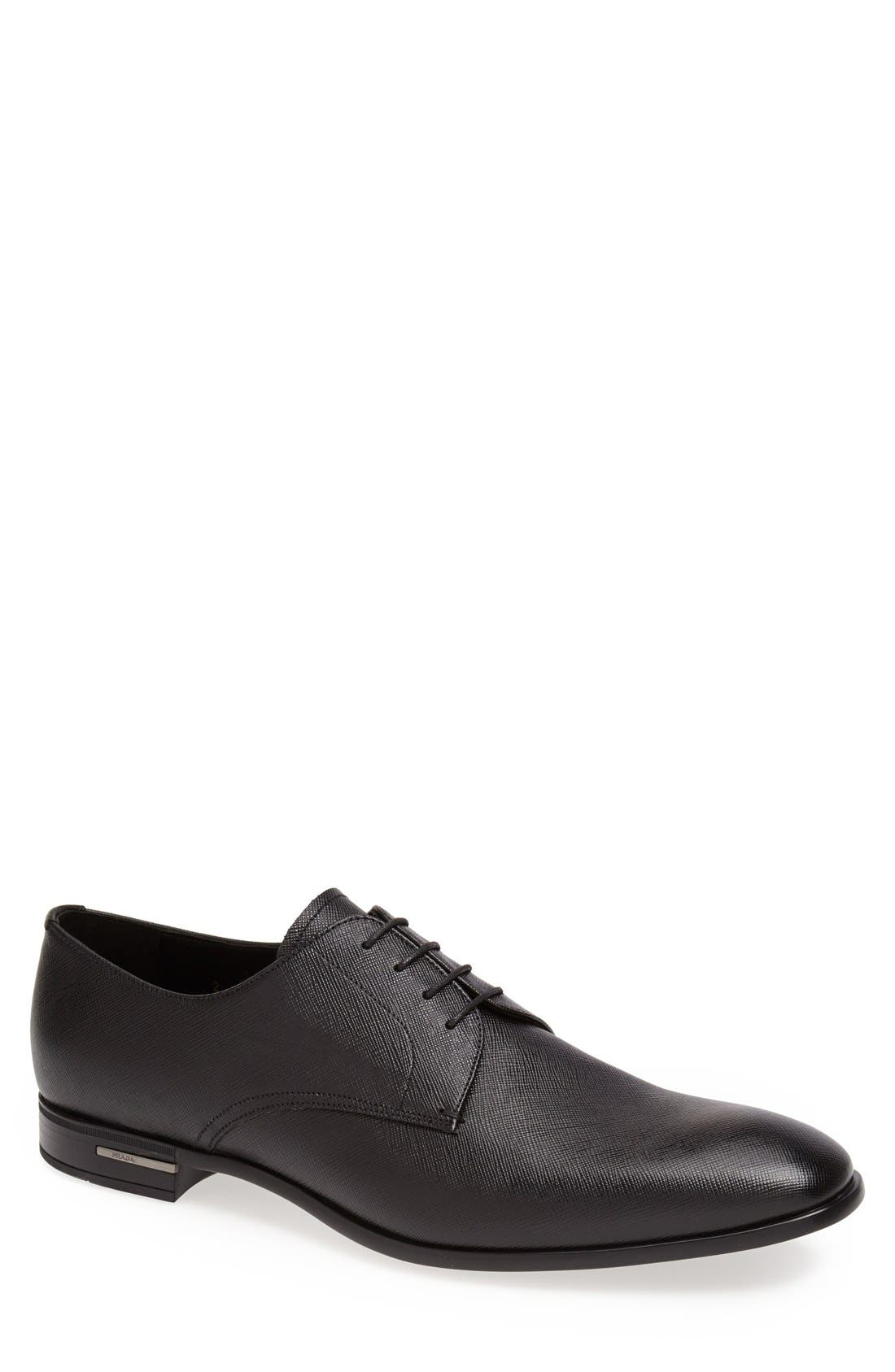 PRADA Plain Toe Derby, Main, color, BLACK