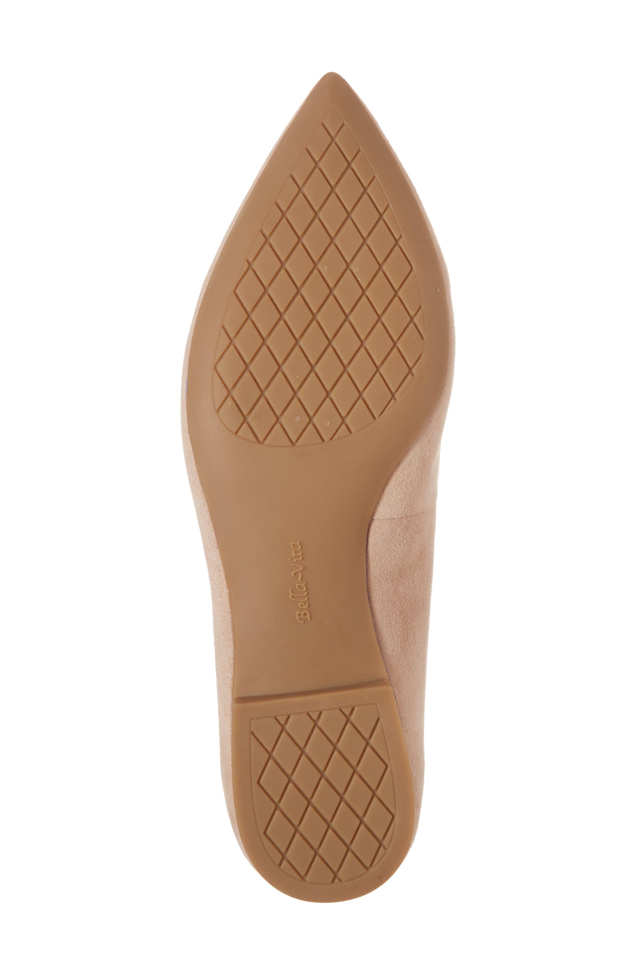 BELLA VITA, 'Vivien' Pointy Toe Flat, Alternate thumbnail 6, color, BLUSH SUEDE