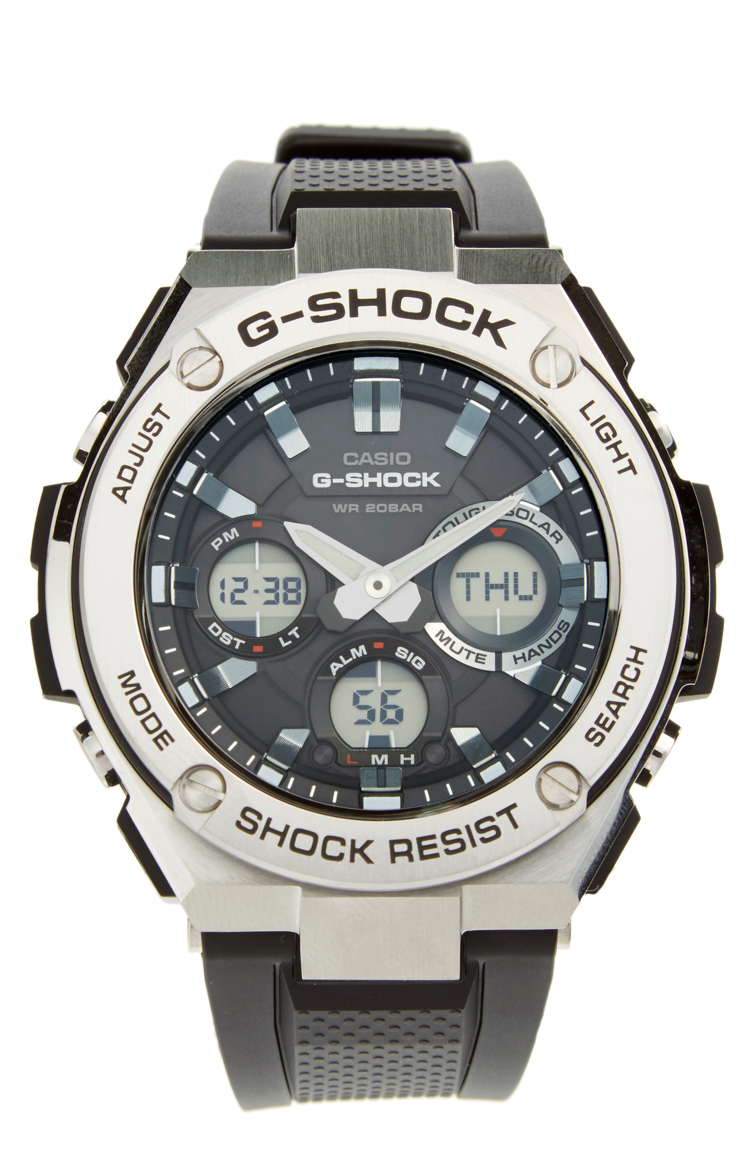 G-SHOCK BABY-G, G-Shock 'G-Steel' Ana-Digi Resin Strap Watch, 59mm x 52mm, Main thumbnail 1, color, BLACK