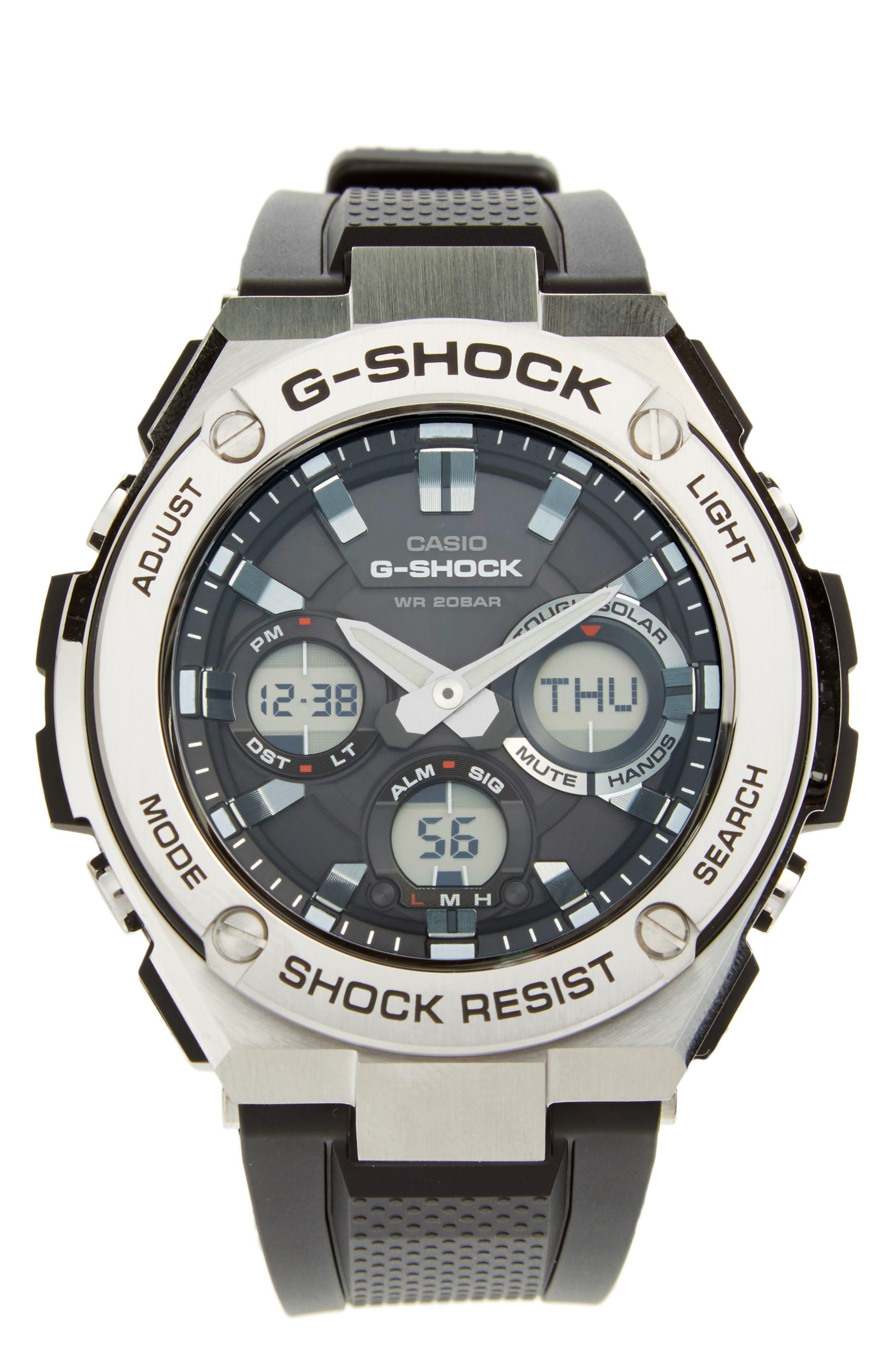 G-SHOCK BABY-G G-Shock 'G-Steel' Ana-Digi Resin Strap Watch, 59mm x 52mm, Main, color, BLACK