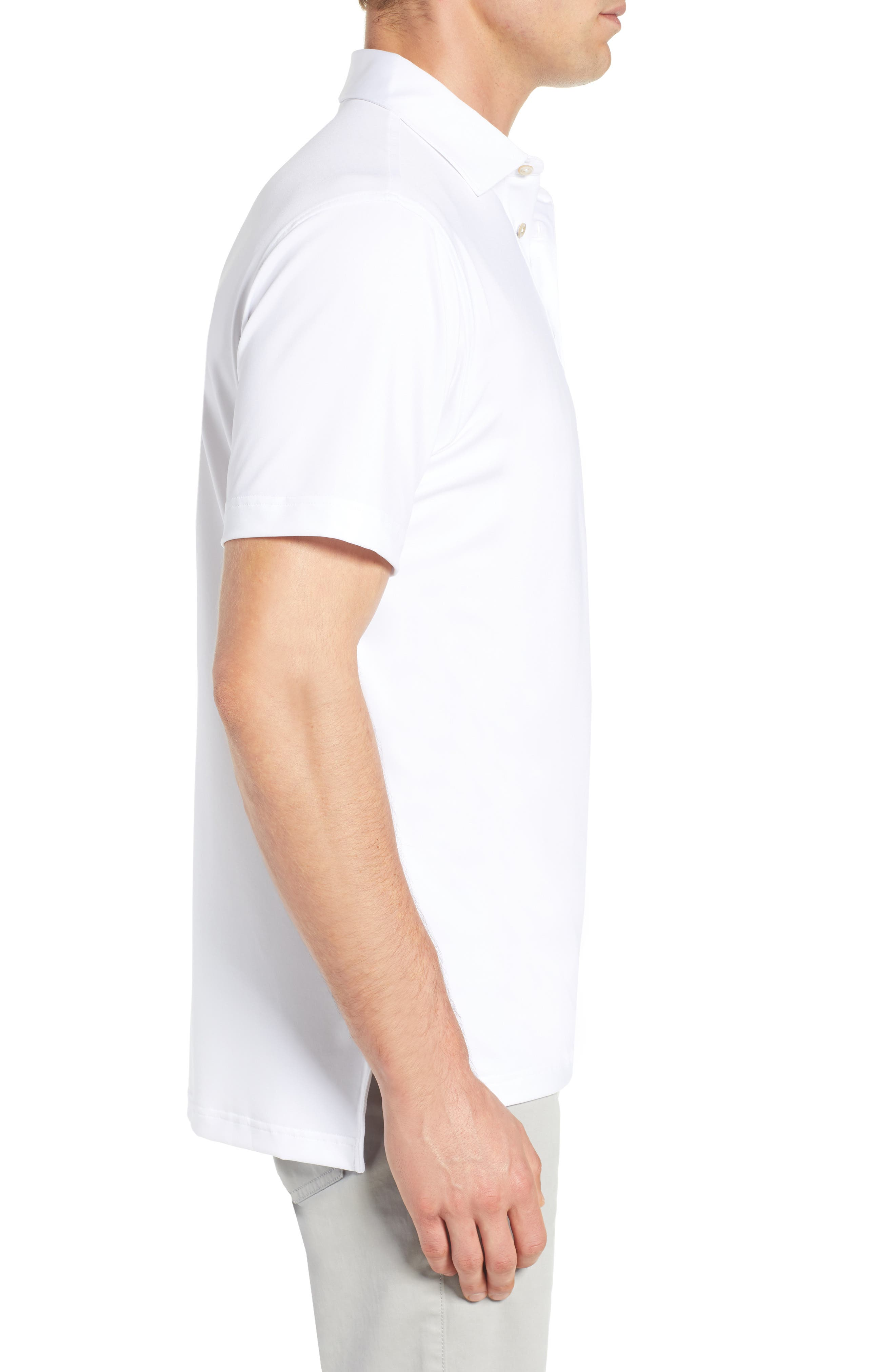 PETER MILLAR, Sean Regular Fit Stretch Jersey Polo, Alternate thumbnail 3, color, WHITE