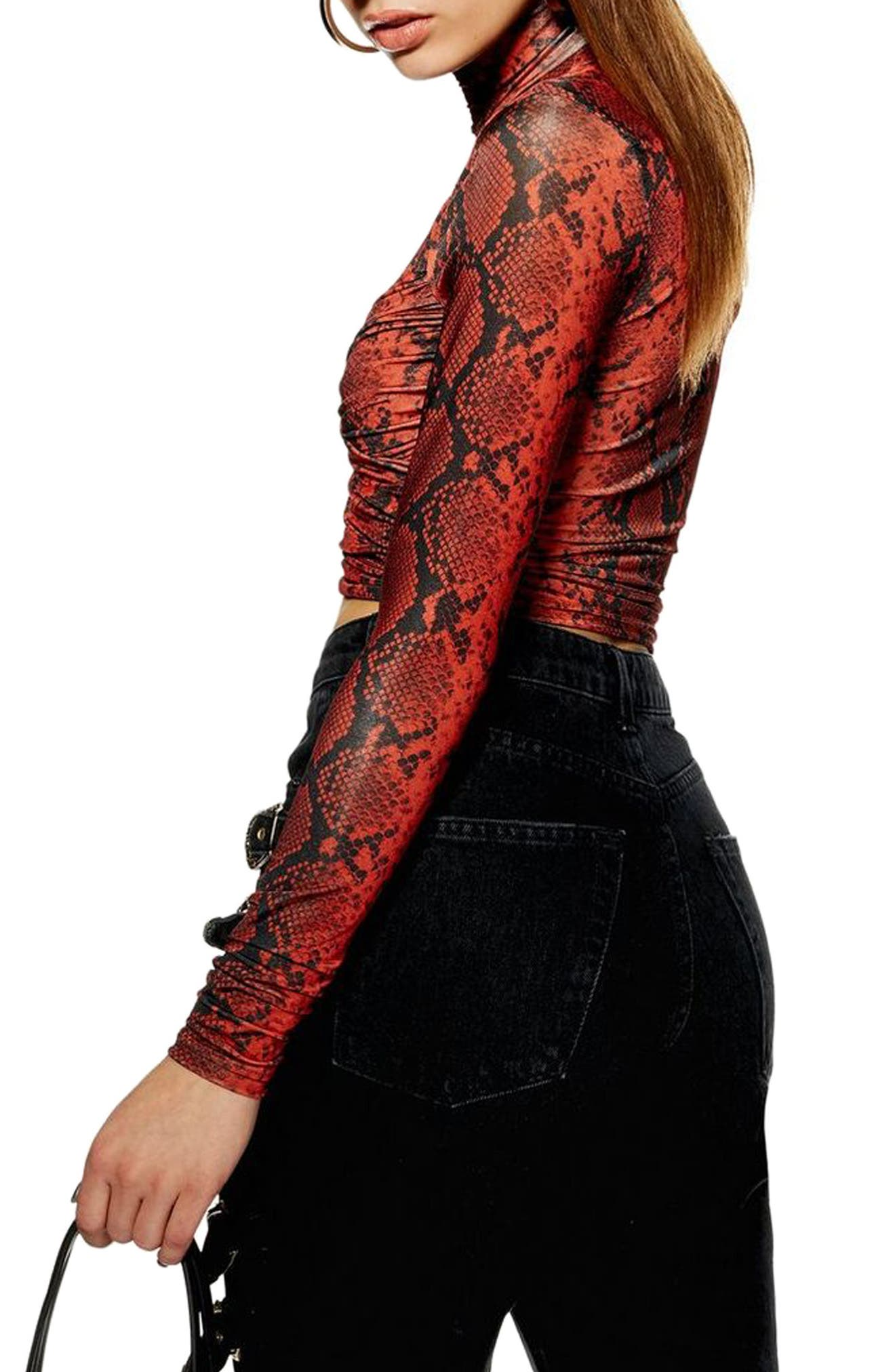 TOPSHOP, Snake Wrap High Neck Top, Alternate thumbnail 2, color, RED MULTI