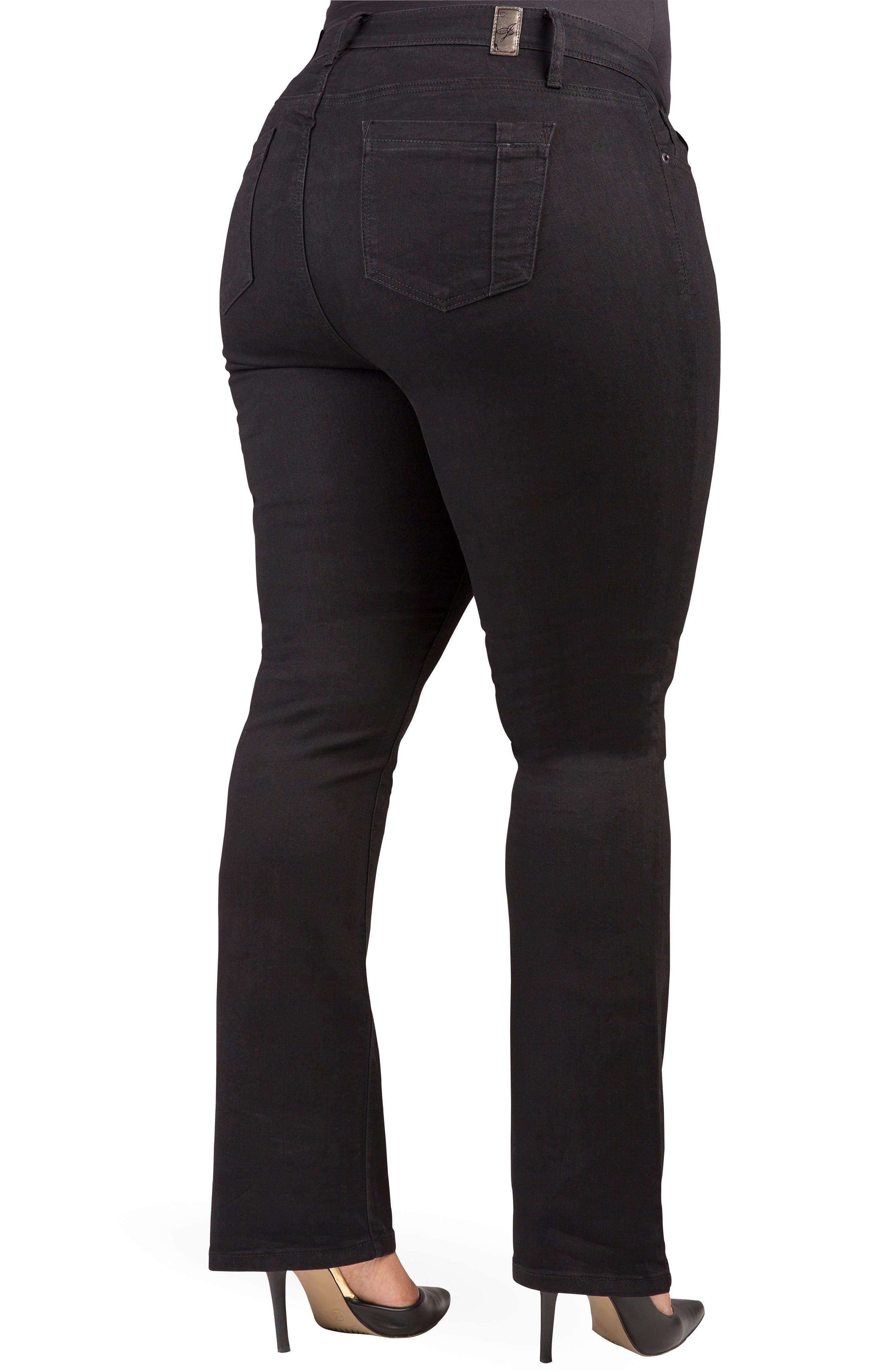 POETIC JUSTICE, Scarlett Slim Bootcut Curvy Fit Jeans, Alternate thumbnail 2, color, RINSE BLACK
