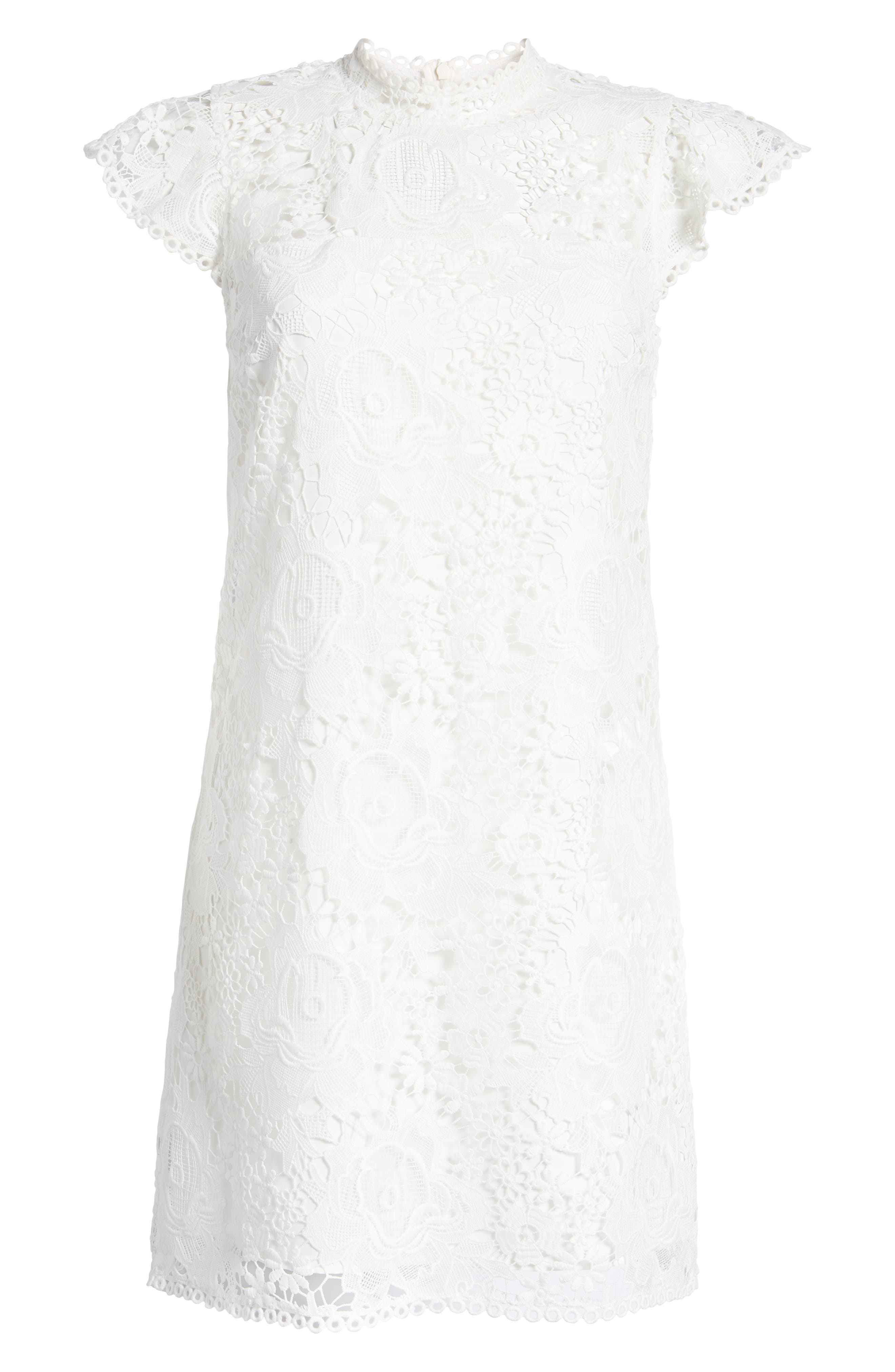 CUPCAKES AND CASHMERE, Floral Lace Shift Dress, Alternate thumbnail 7, color, WHITE