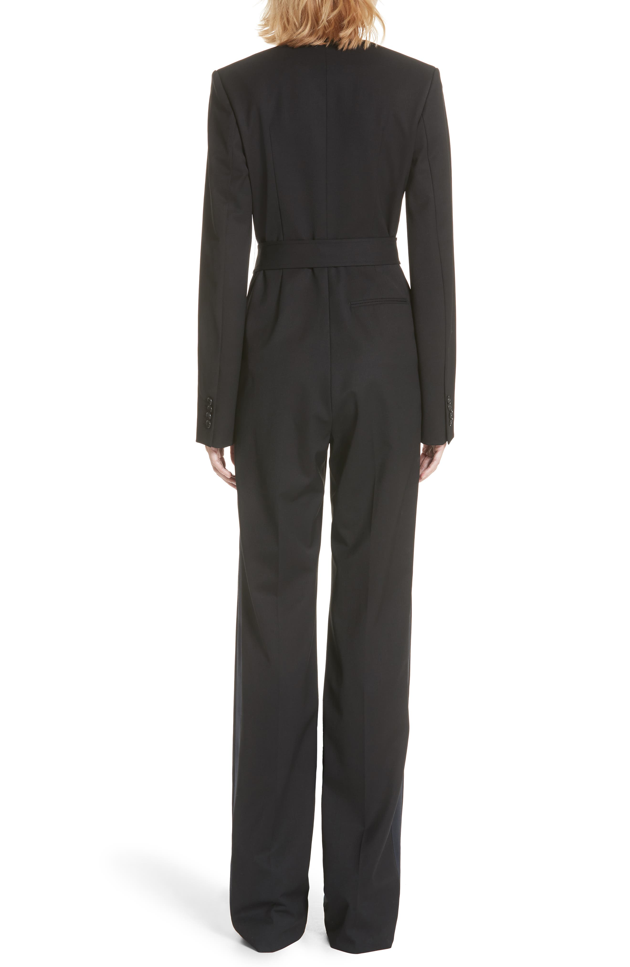 CALVIN KLEIN 205W39NYC, Side Stripe Wool Blend Jumpsuit, Alternate thumbnail 2, color, BLACK DARK NAVY