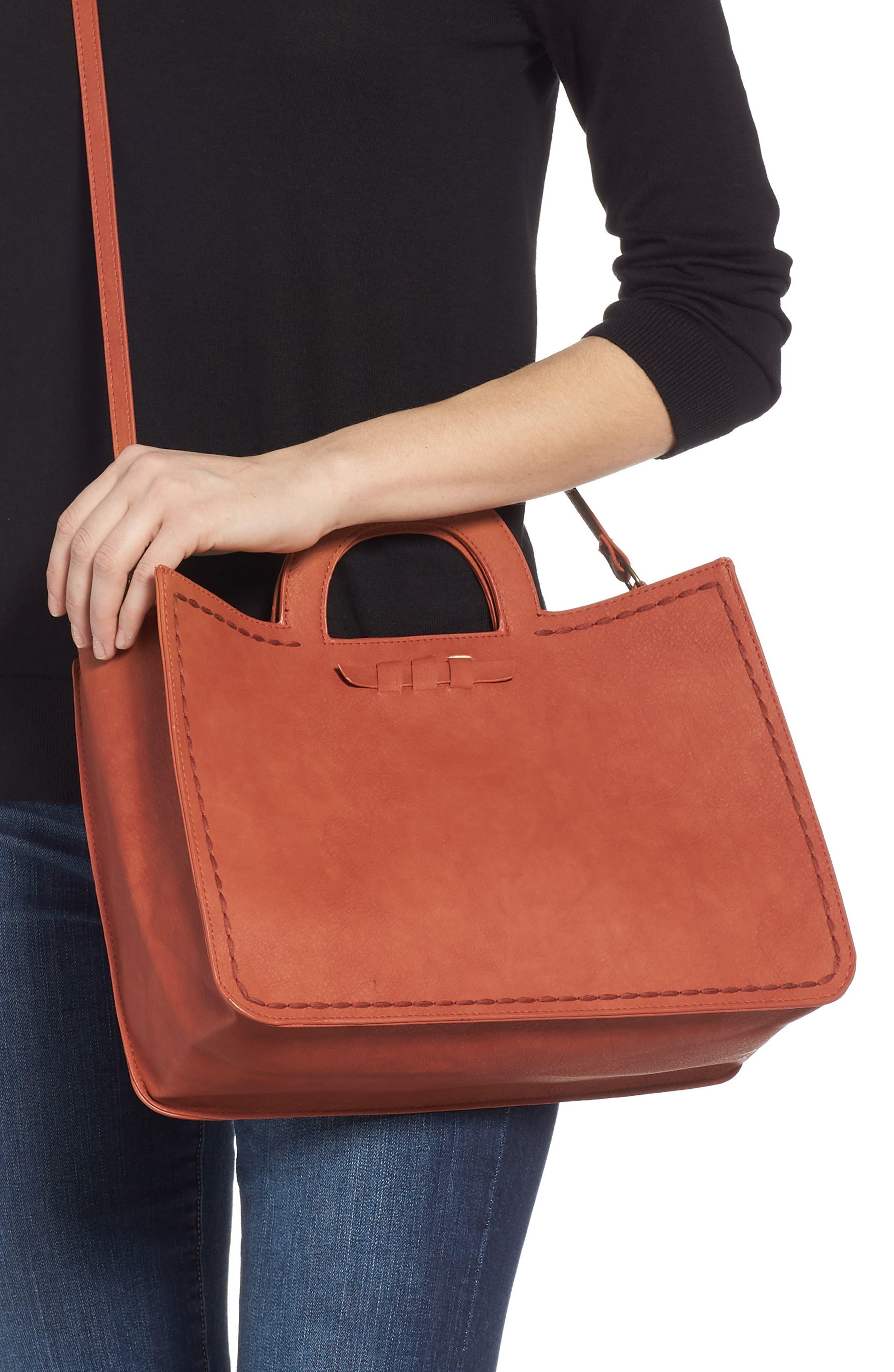 T-SHIRT & JEANS, Faux Leather Top Handle Tote Bag, Alternate thumbnail 2, color, 805