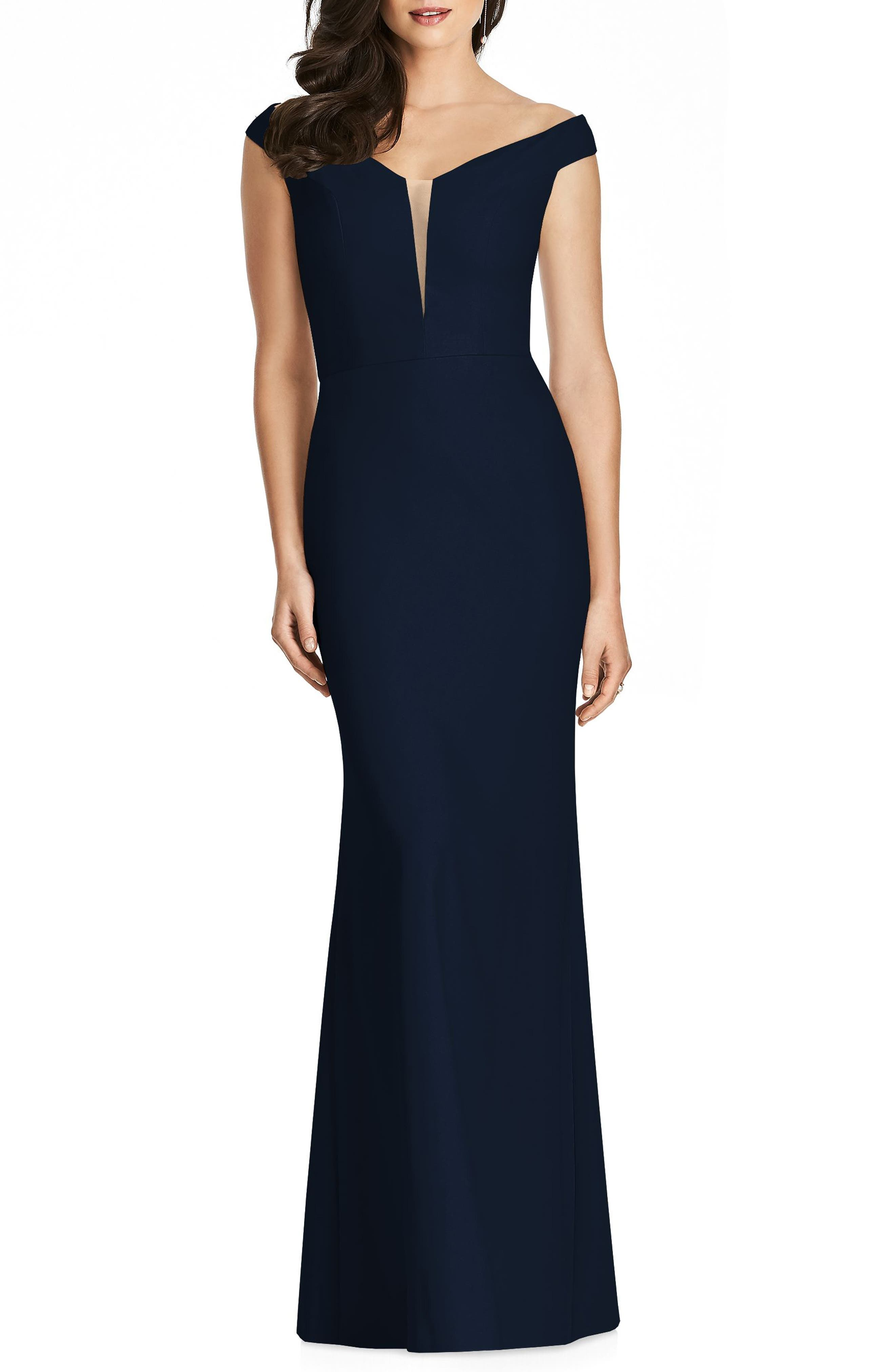 DESSY COLLECTION, Off the Shoulder Crepe Gown, Main thumbnail 1, color, MIDNIGHT