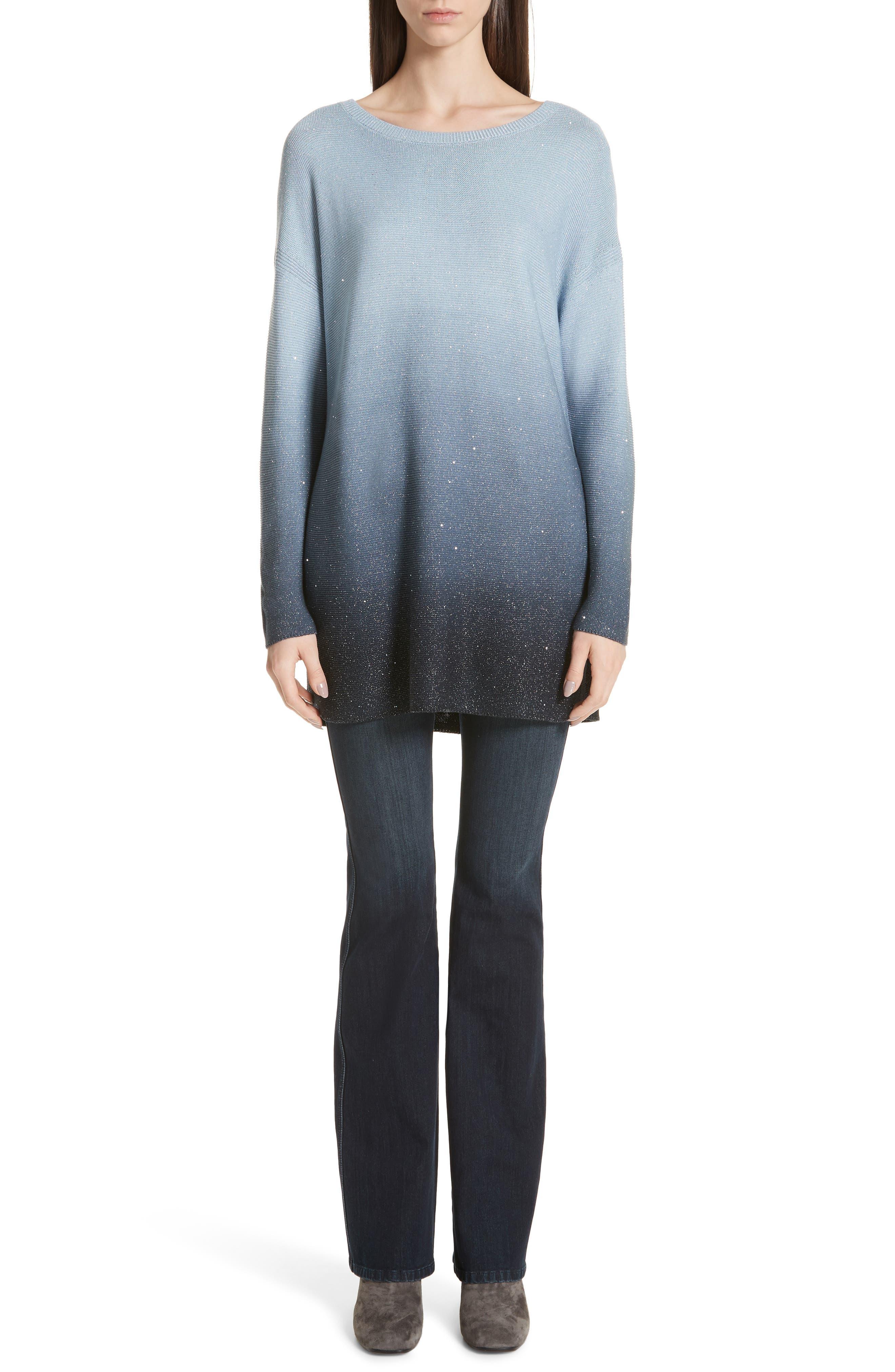 LAFAYETTE 148 NEW YORK, Sequin Ombré Silk Blend Tunic, Alternate thumbnail 7, color, SLATE BLUE MULTI