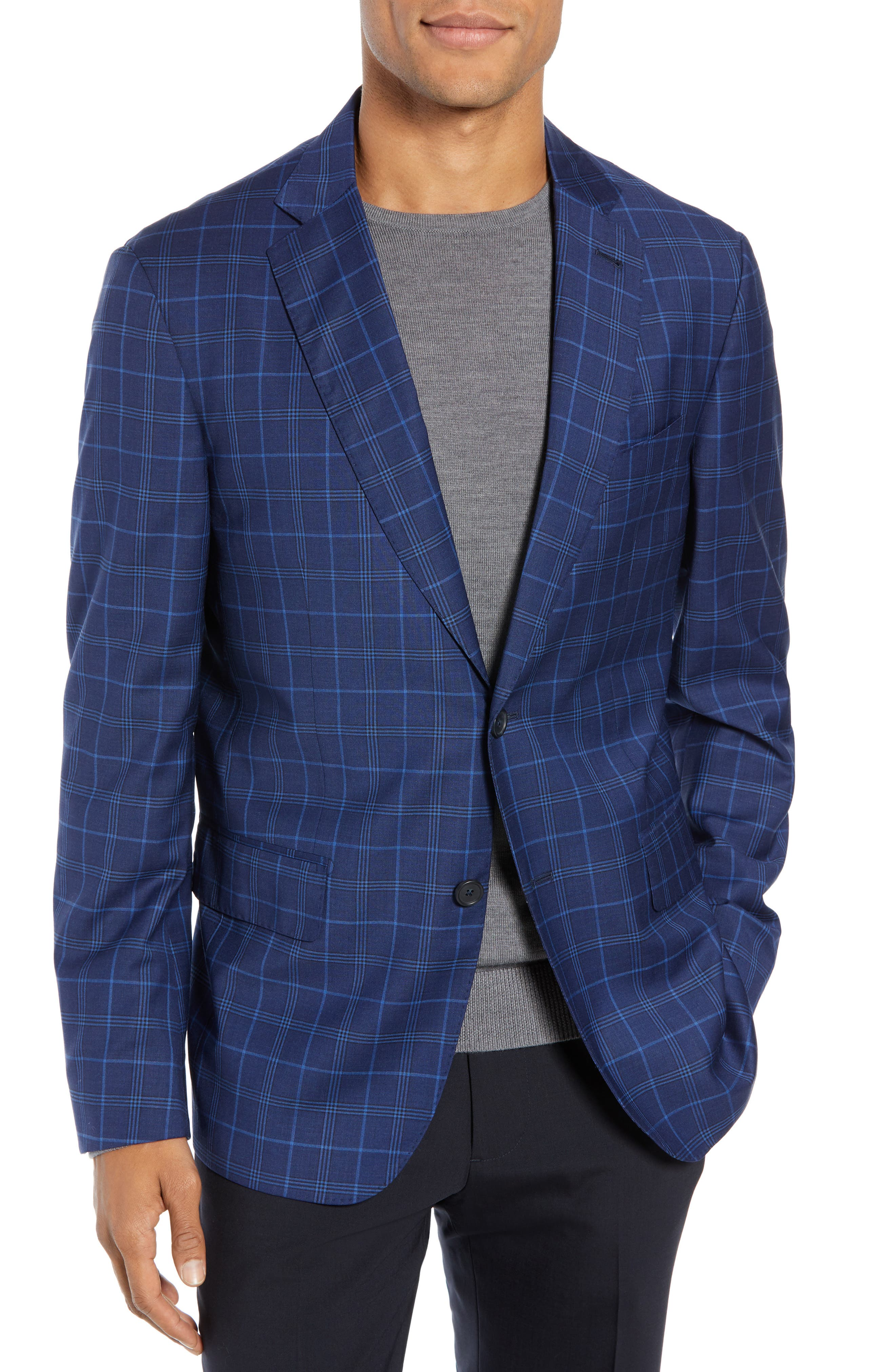 JOHN W. NORDSTROM<SUP>®</SUP> Traditional Fit Plaid Wool Sport Coat, Main, color, NAVY IRIS BLUE WINDOWPANE