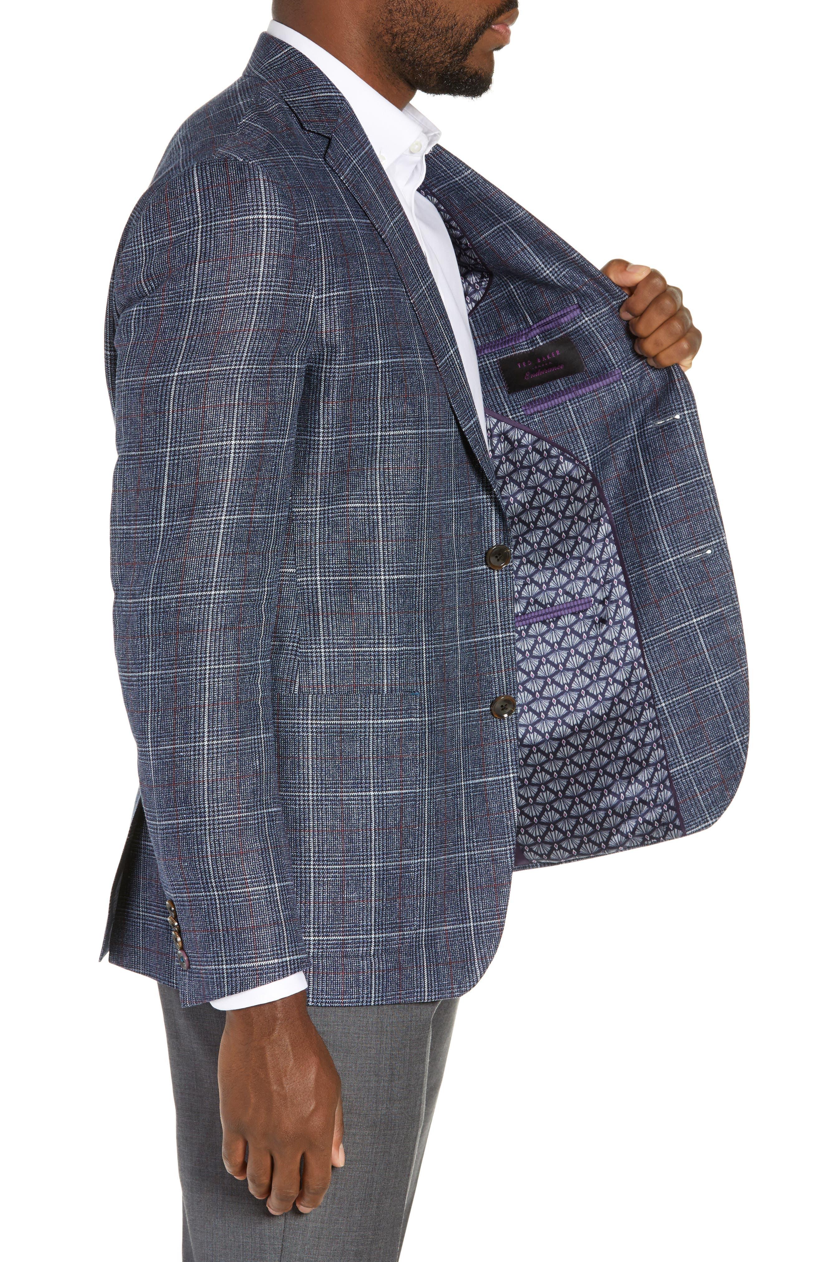 TED BAKER LONDON, Kyle Trim Fit Plaid Linen Blend Sport Coat, Alternate thumbnail 4, color, BLUE