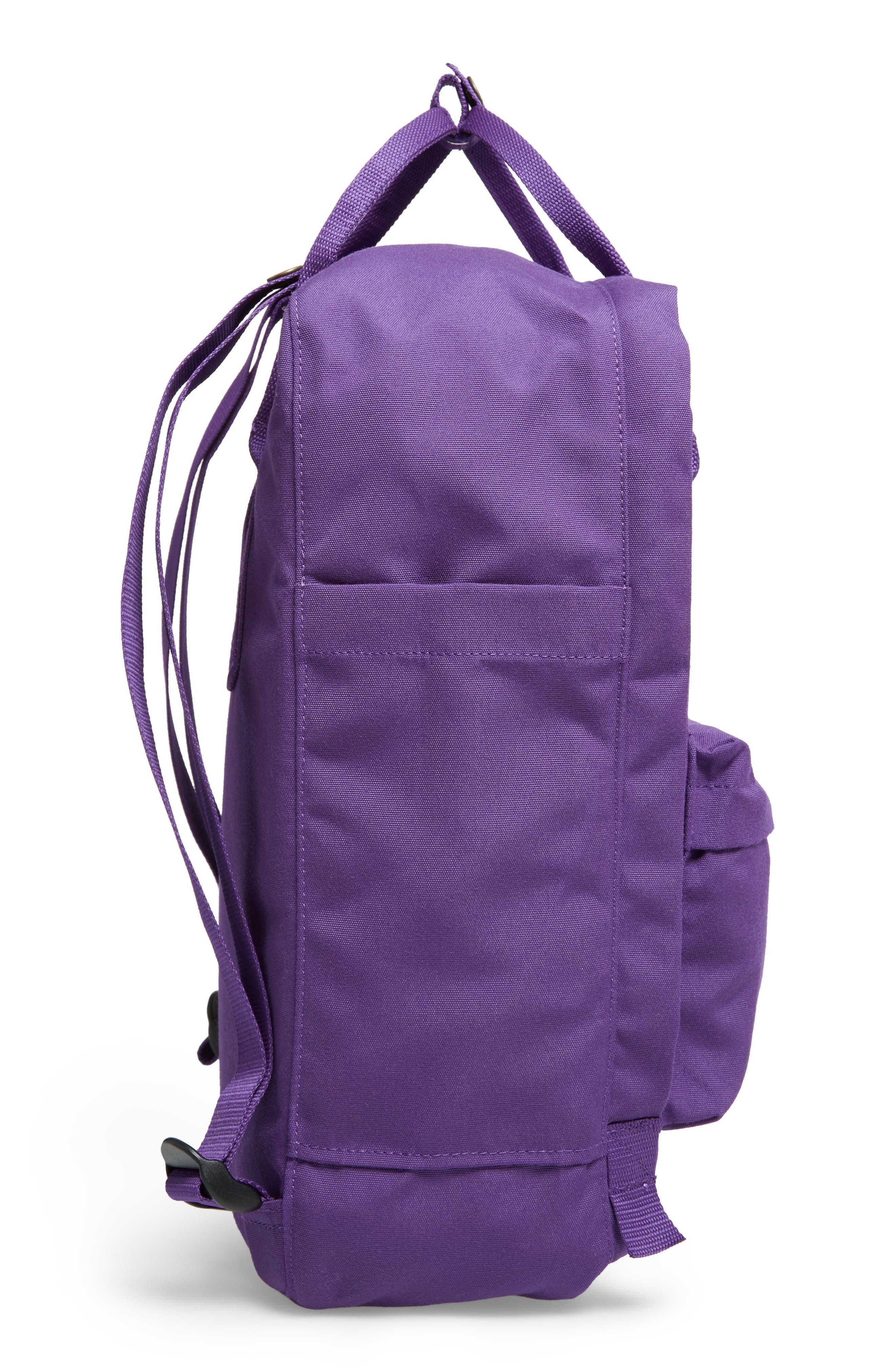 FJÄLLRÄVEN, Re-Kånken Water Resistant Backpack, Alternate thumbnail 5, color, DEEP VIOLET