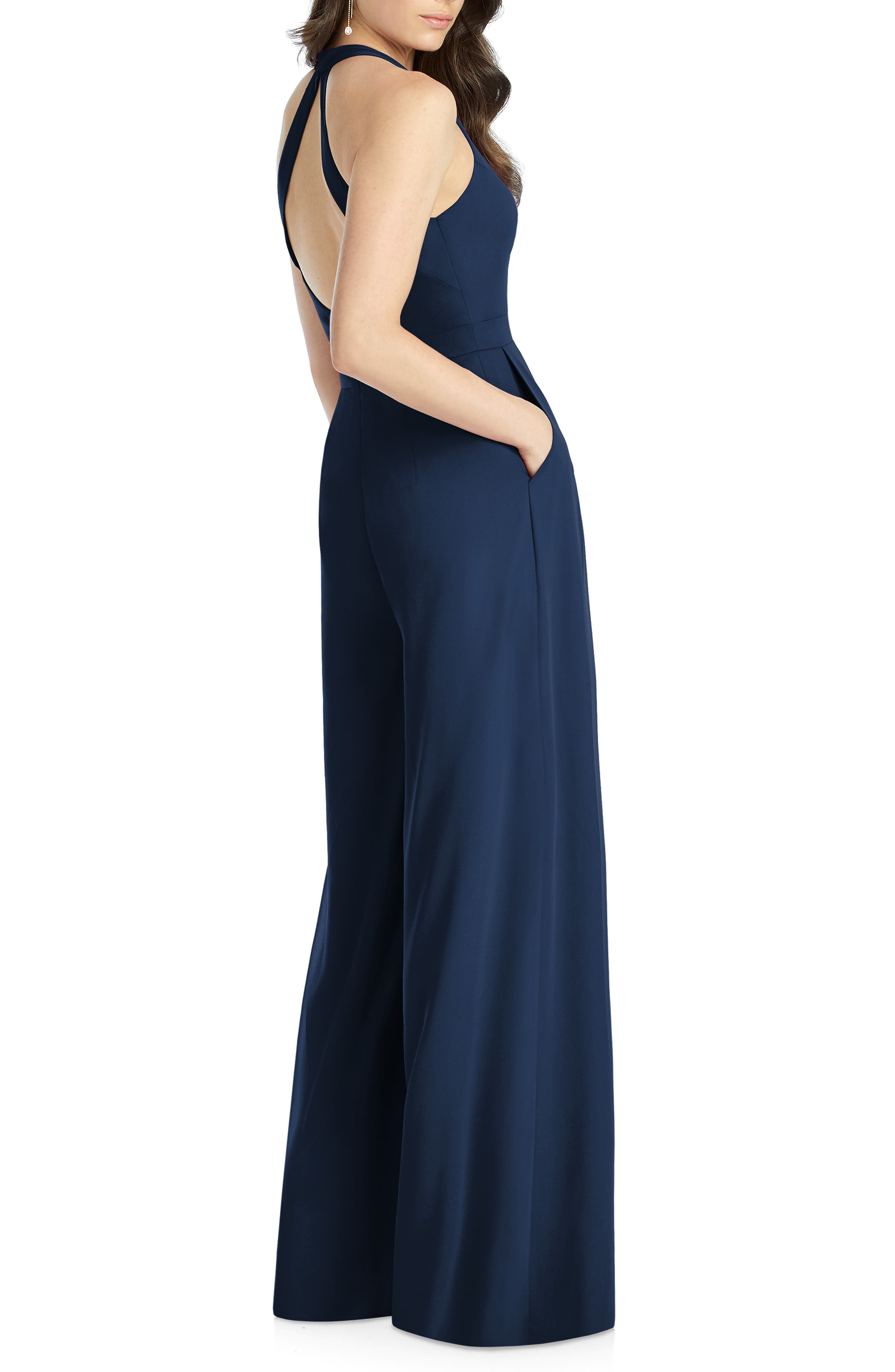 DESSY COLLECTION, Arielle V-Neck Lux Chiffon Jumpsuit, Alternate thumbnail 2, color, MIDNIGHT