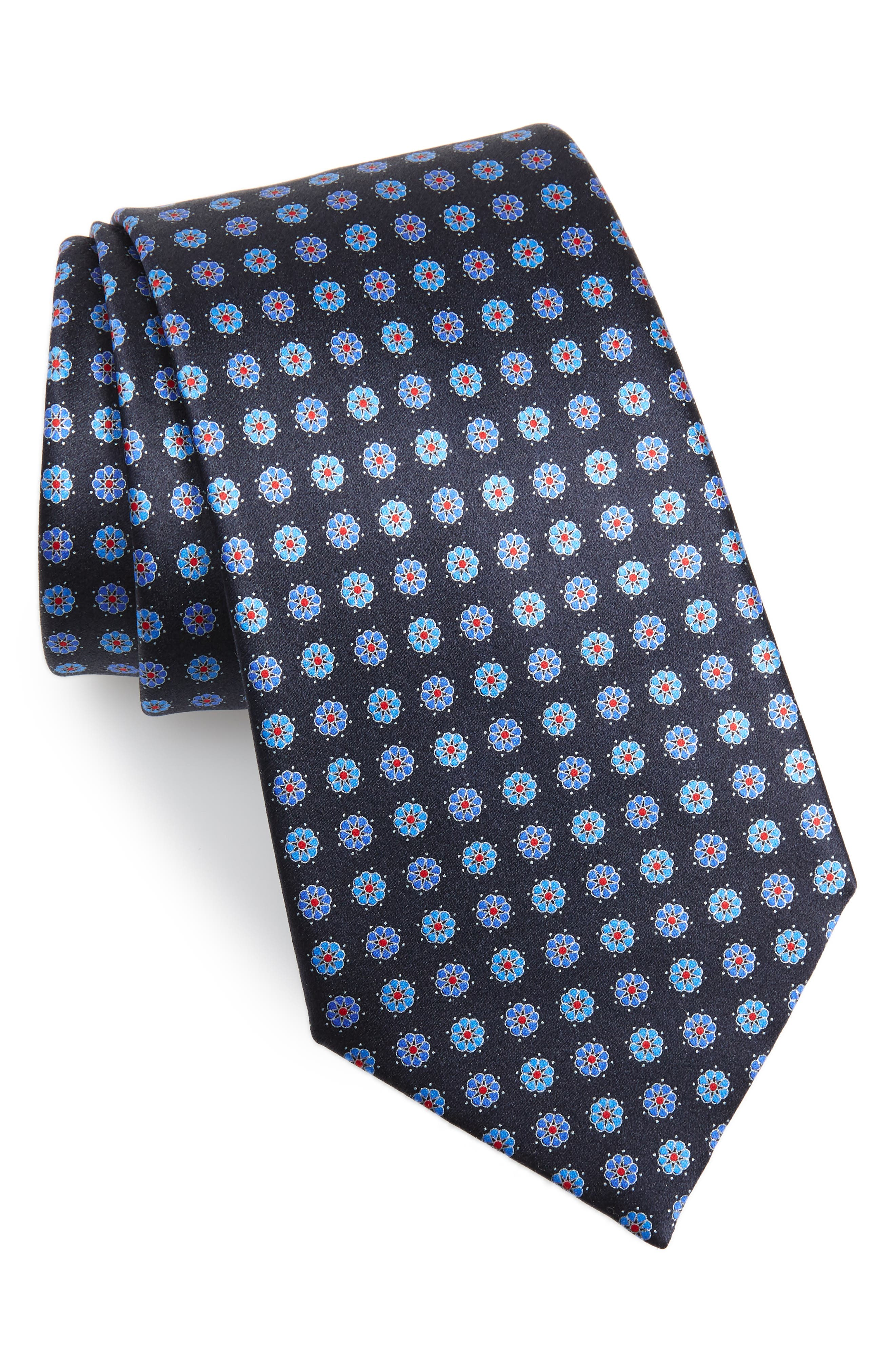 ERMENEGILDO ZEGNA, Floral Silk Tie, Main thumbnail 1, color, BLUE