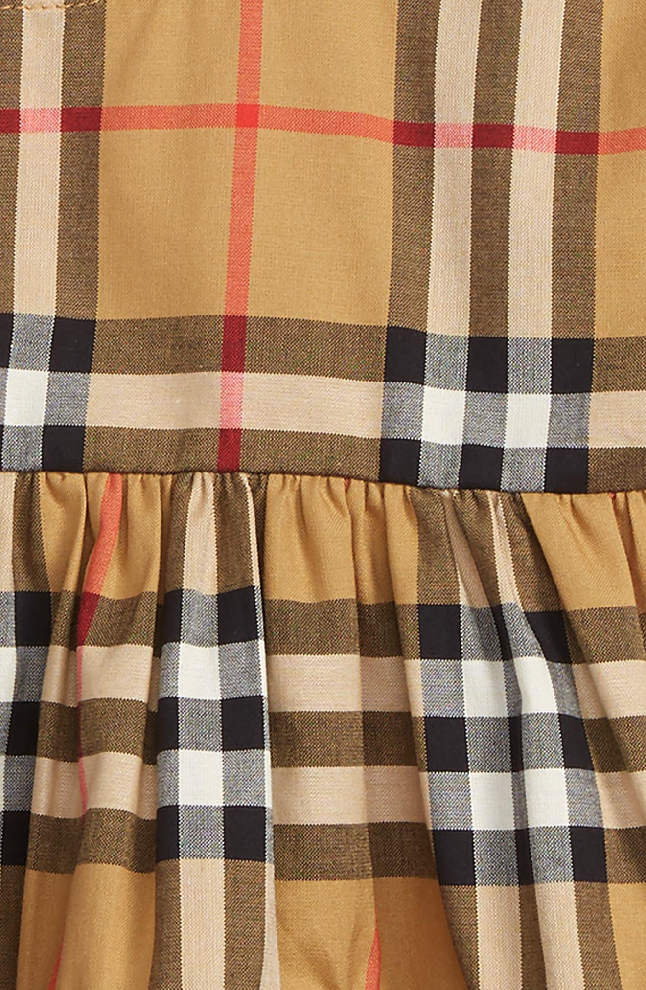 BURBERRY, Alima Check Dress, Alternate thumbnail 2, color, ANTIQUE YELLOW
