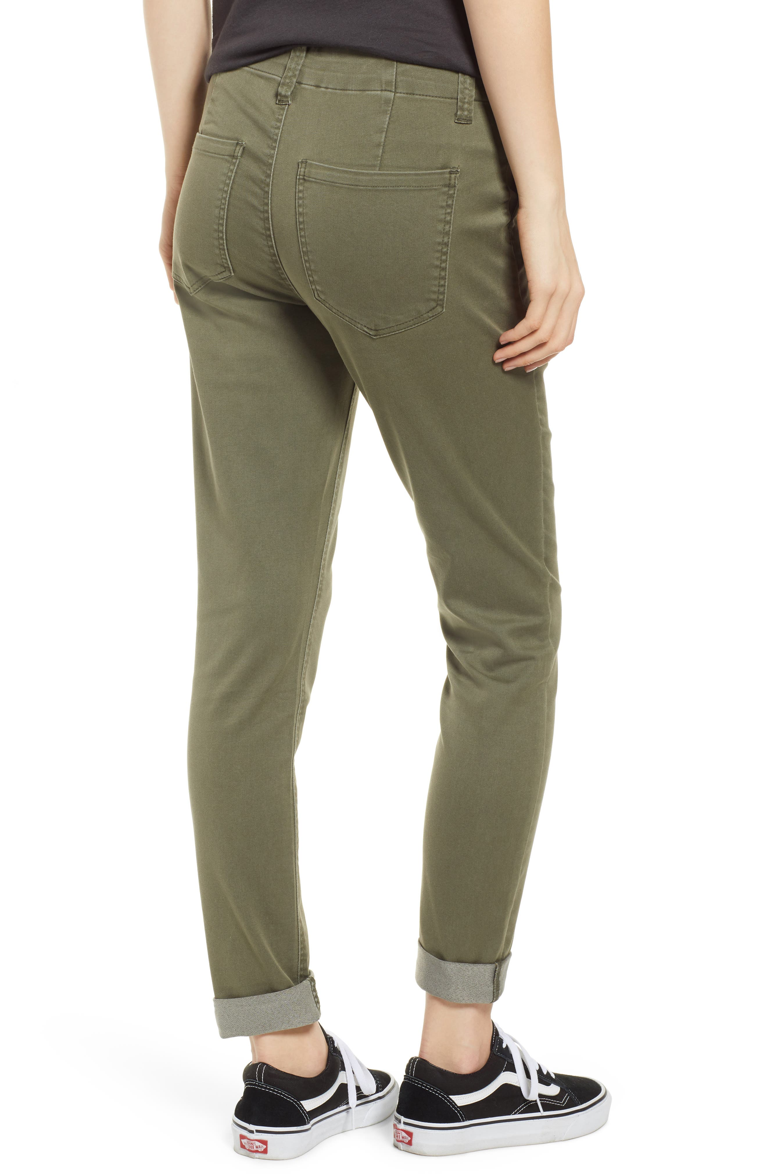 TINSEL, Cuffed Sateen Skinny Pants, Alternate thumbnail 2, color, DUSTY OLIVE