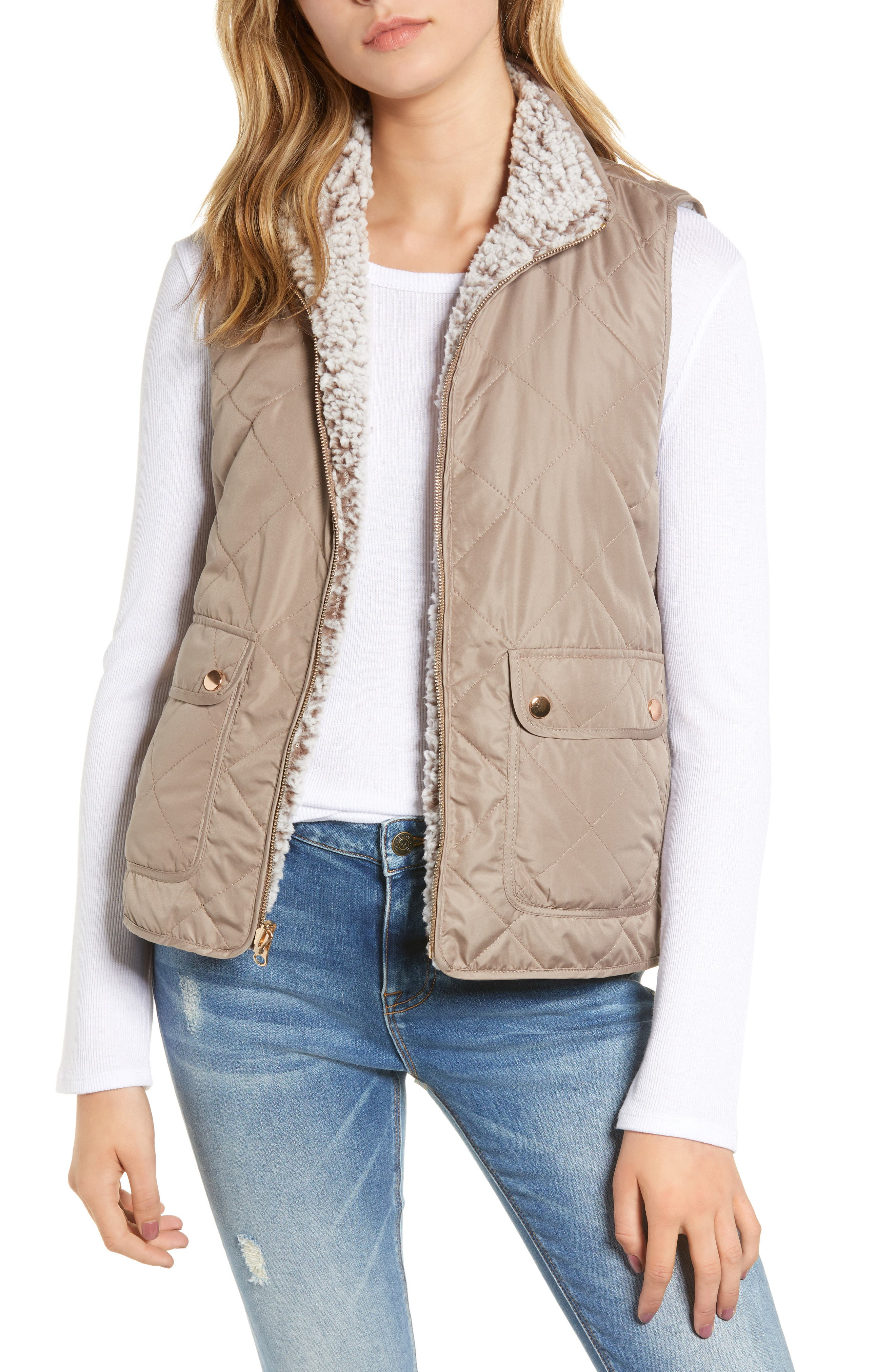 THREAD & SUPPLY, Reversible Fleece Lined Quilted Vest, Main thumbnail 1, color, MUSHROOM