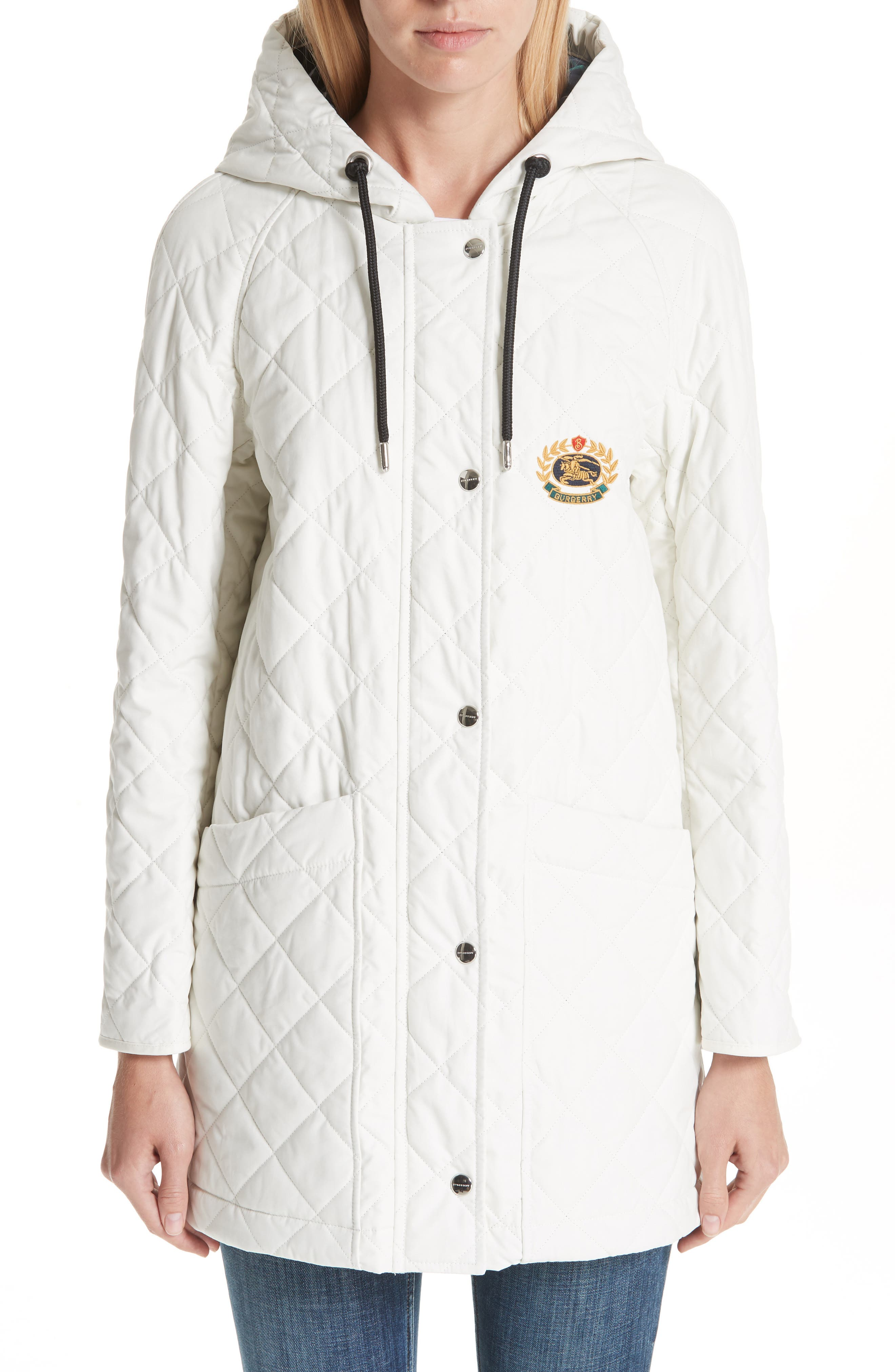 BURBERRY, Roxwell Embroidered Archive Logo Quilted Coat, Main thumbnail 1, color, 100