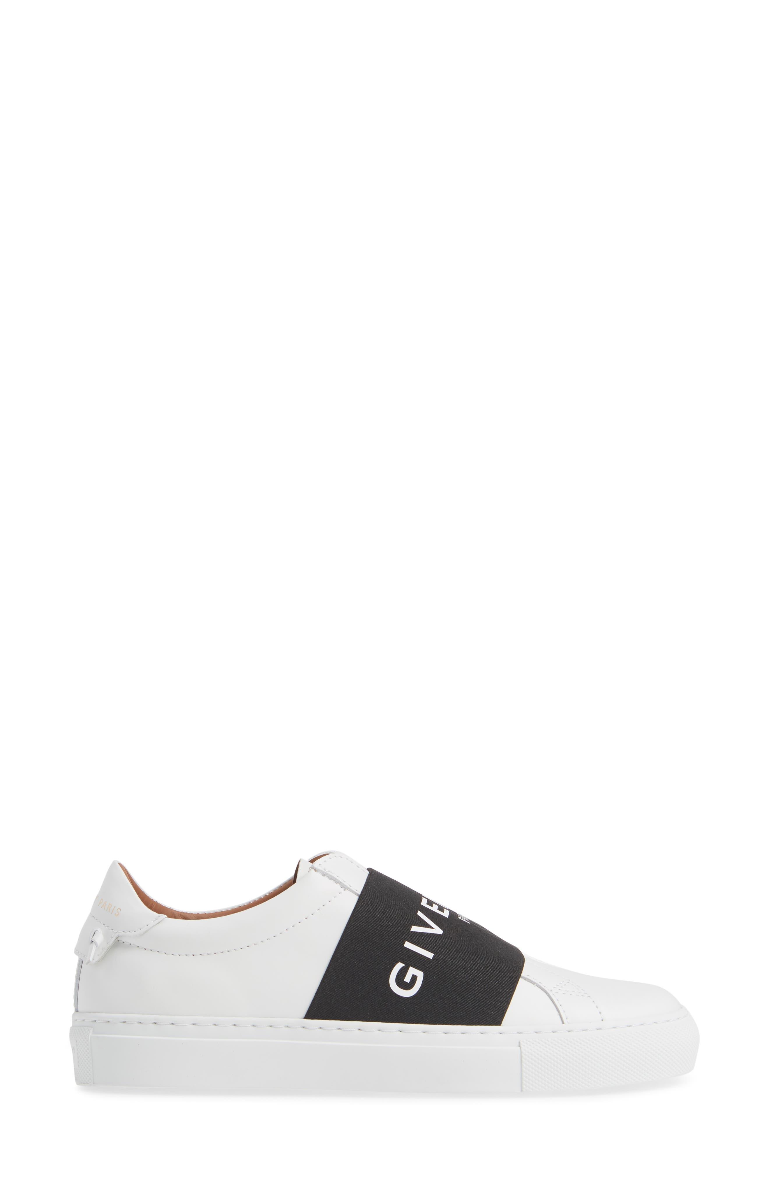 GIVENCHY, Logo Strap Slip-On Sneaker, Alternate thumbnail 3, color, WHITE