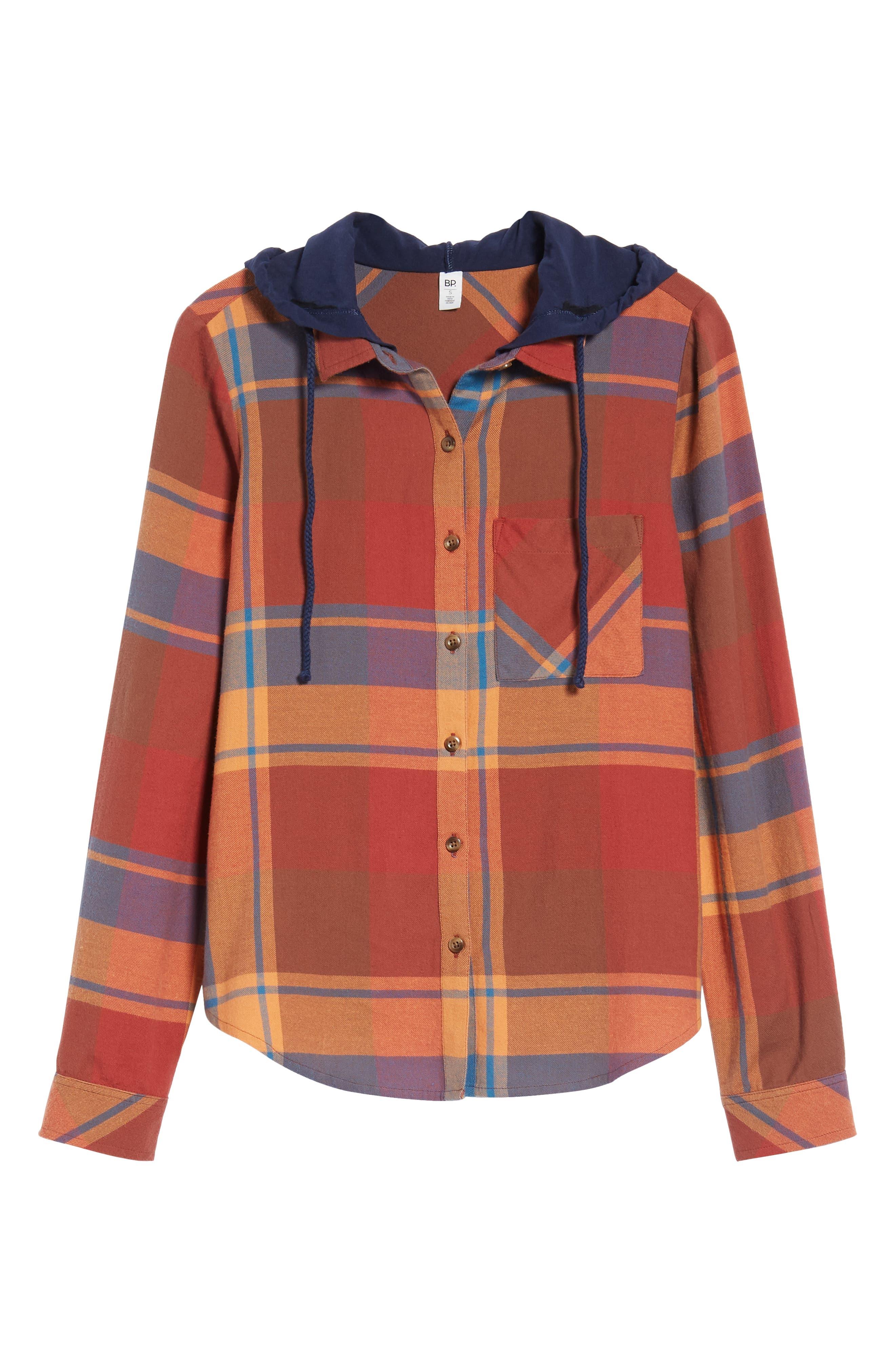 BP., Hooded Plaid Shirt, Alternate thumbnail 6, color, 800