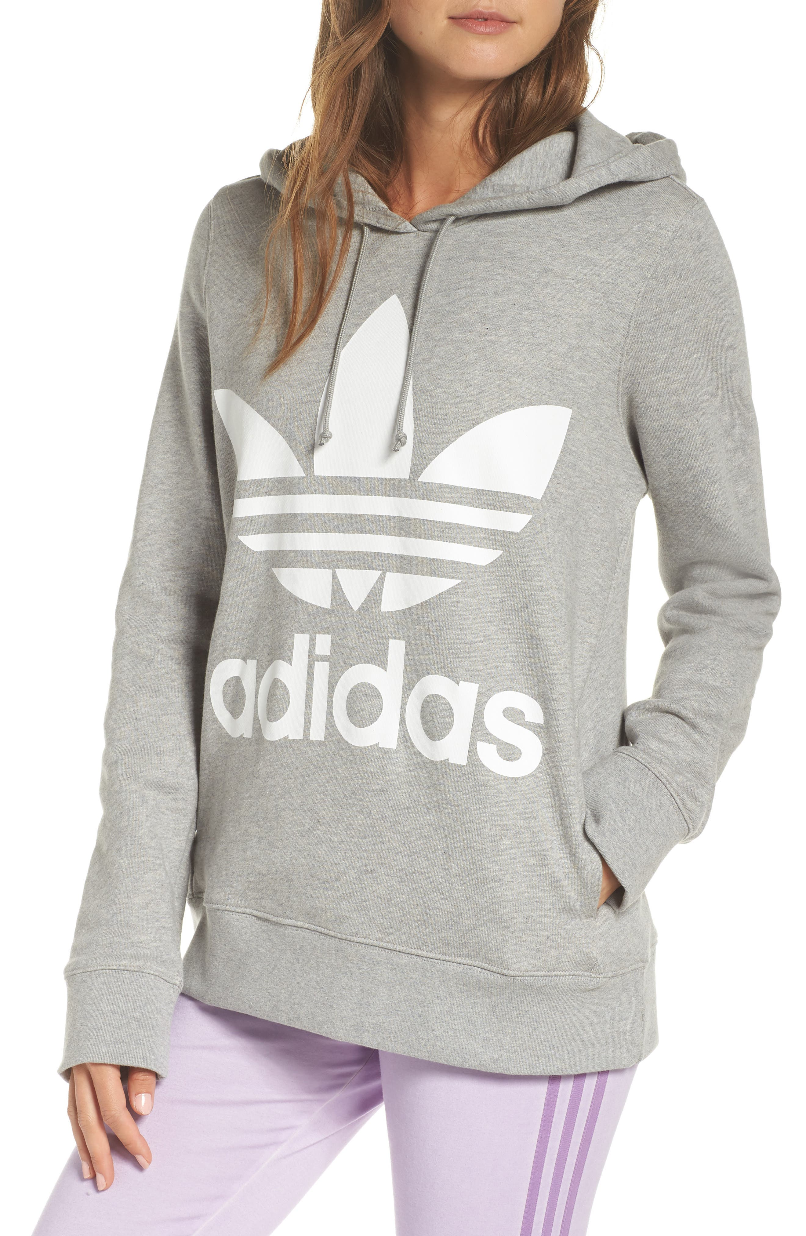 ADIDAS ORIGINALS, Trefoil Hoodie, Main thumbnail 1, color, MEDIUM GREY HEATHER