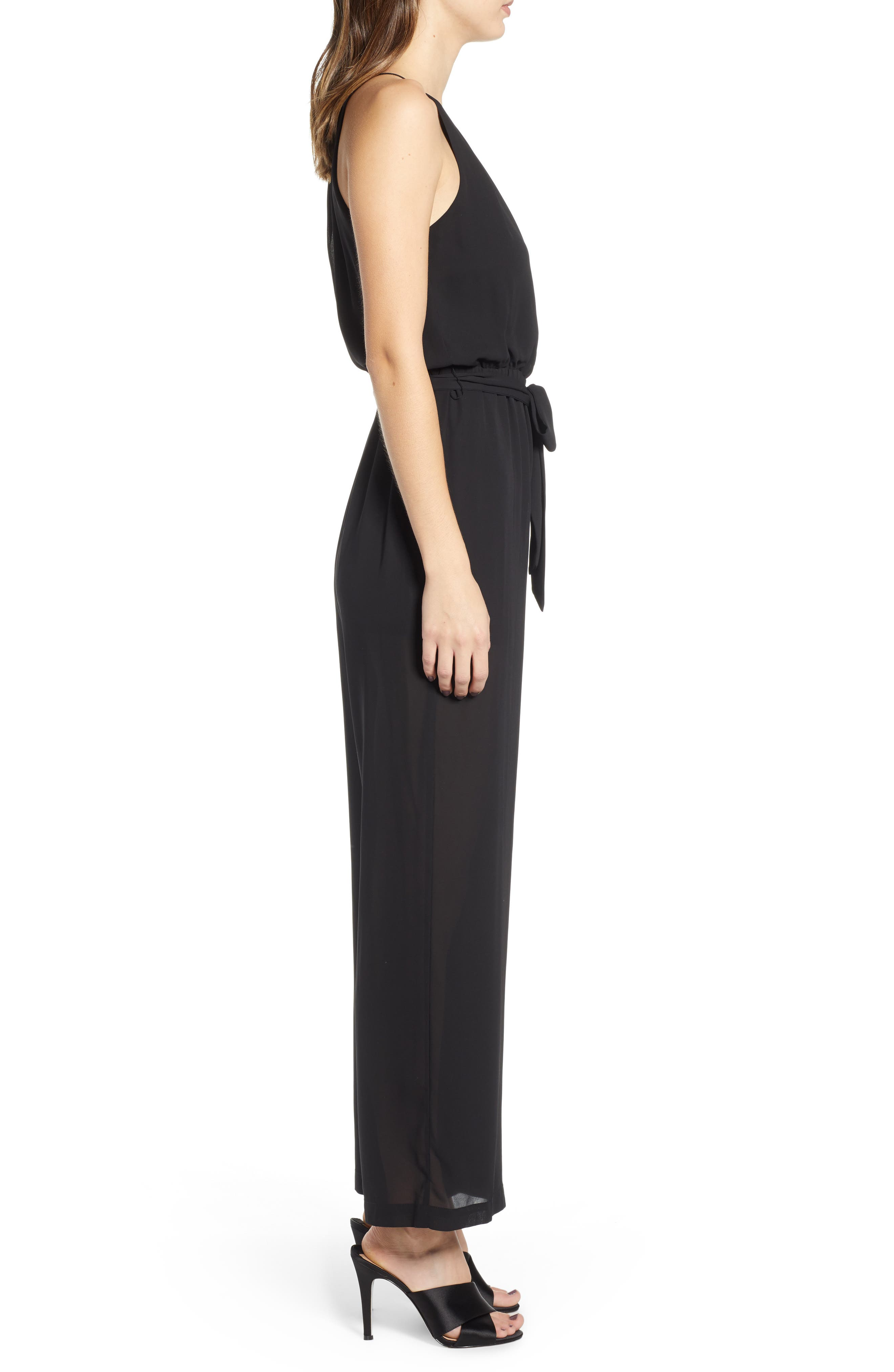 ALL IN FAVOR, Blouson Chiffon Jumpsuit, Alternate thumbnail 4, color, BLACK