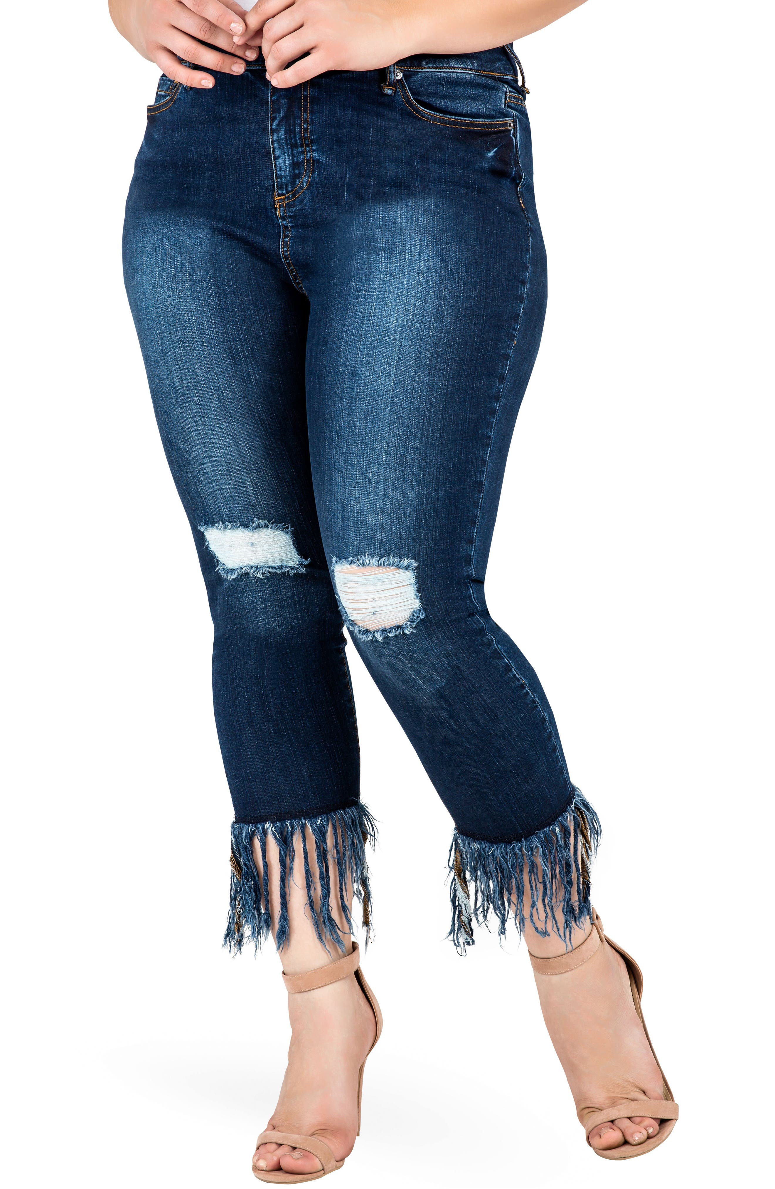 STANDARDS & PRACTICES, Laura Fringe Hem Skinny Crop Jeans, Main thumbnail 1, color, REPUBLIC