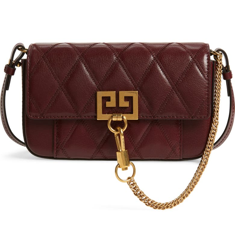 Givenchy Leathers MINI POCKET QUILTED CONVERTIBLE LEATHER BAG - BURGUNDY