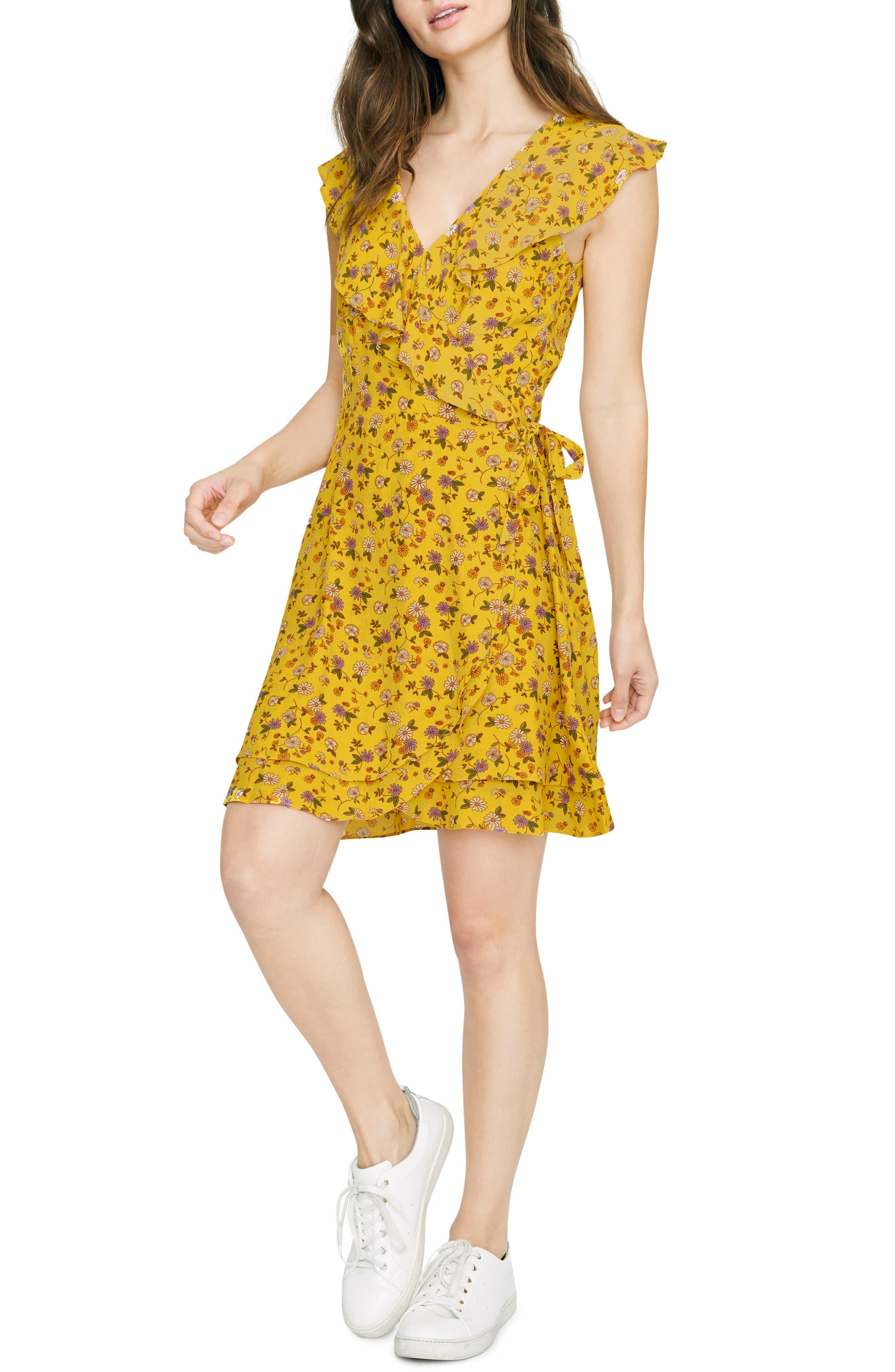 Sanctuary Johanna Wrap Dress, Yellow