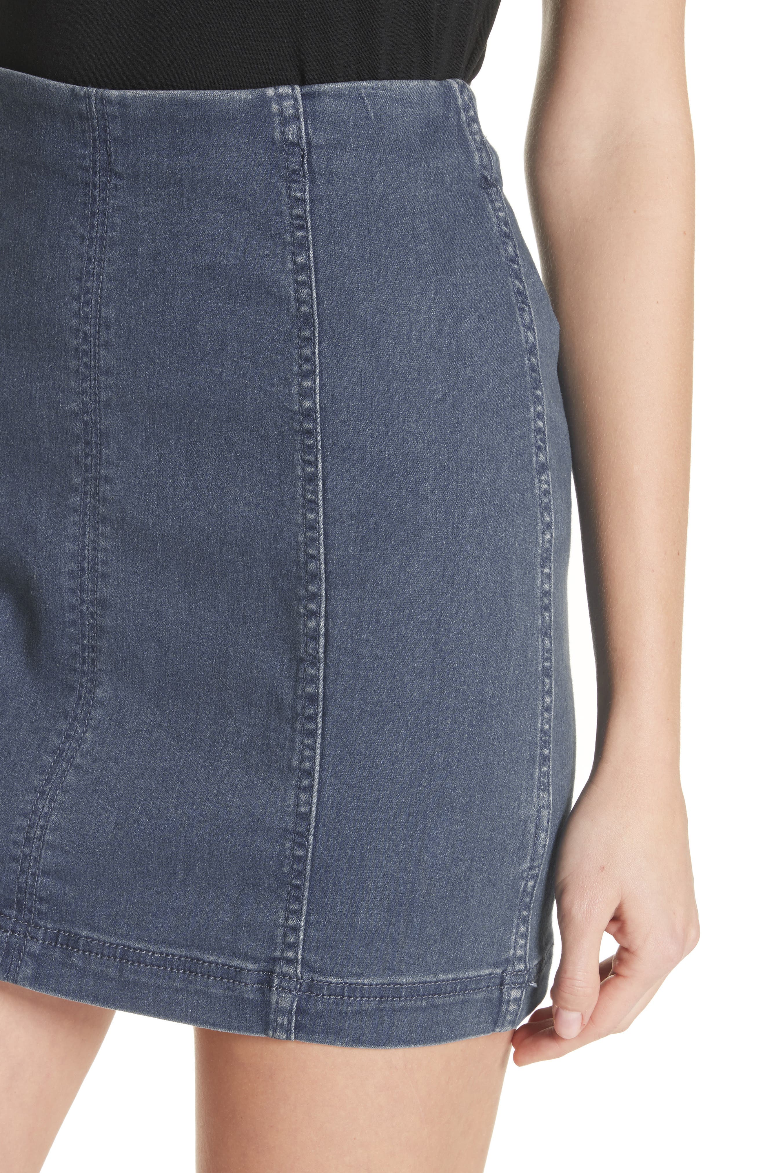 FREE PEOPLE, We the Free by Free People Modern Denim Miniskirt, Alternate thumbnail 5, color, 400