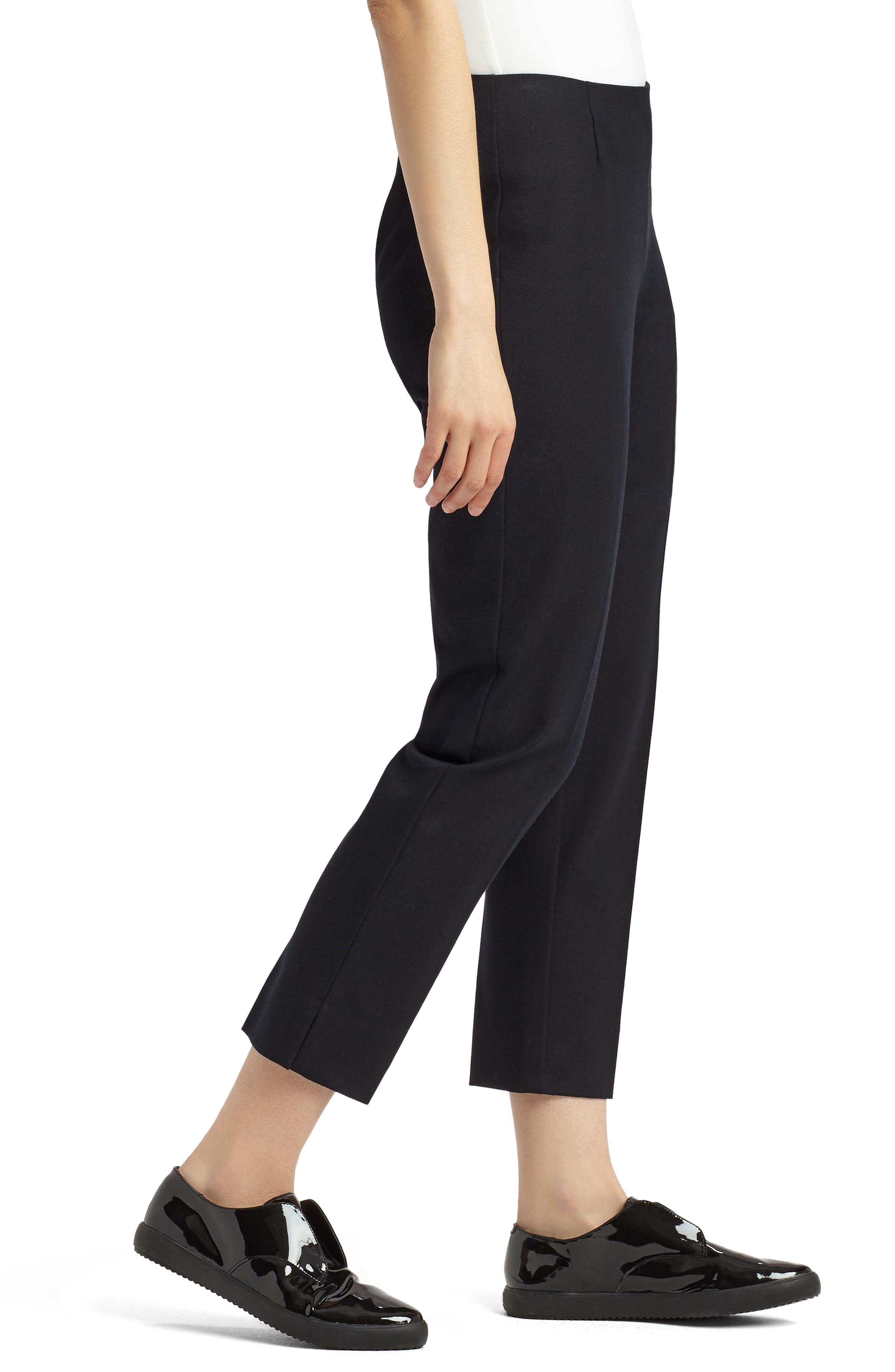 LAFAYETTE 148 NEW YORK, Lexington Stretch Cotton Crop Pants, Alternate thumbnail 3, color, BLACK