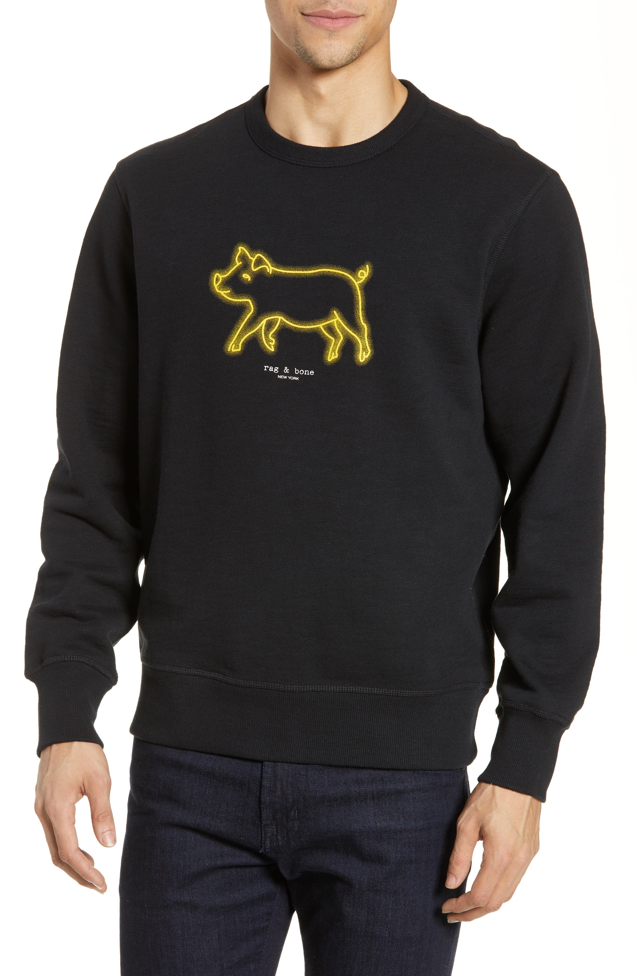 RAG & BONE, Year of the Pig Graphic Sweatshirt, Main thumbnail 1, color, BLACK