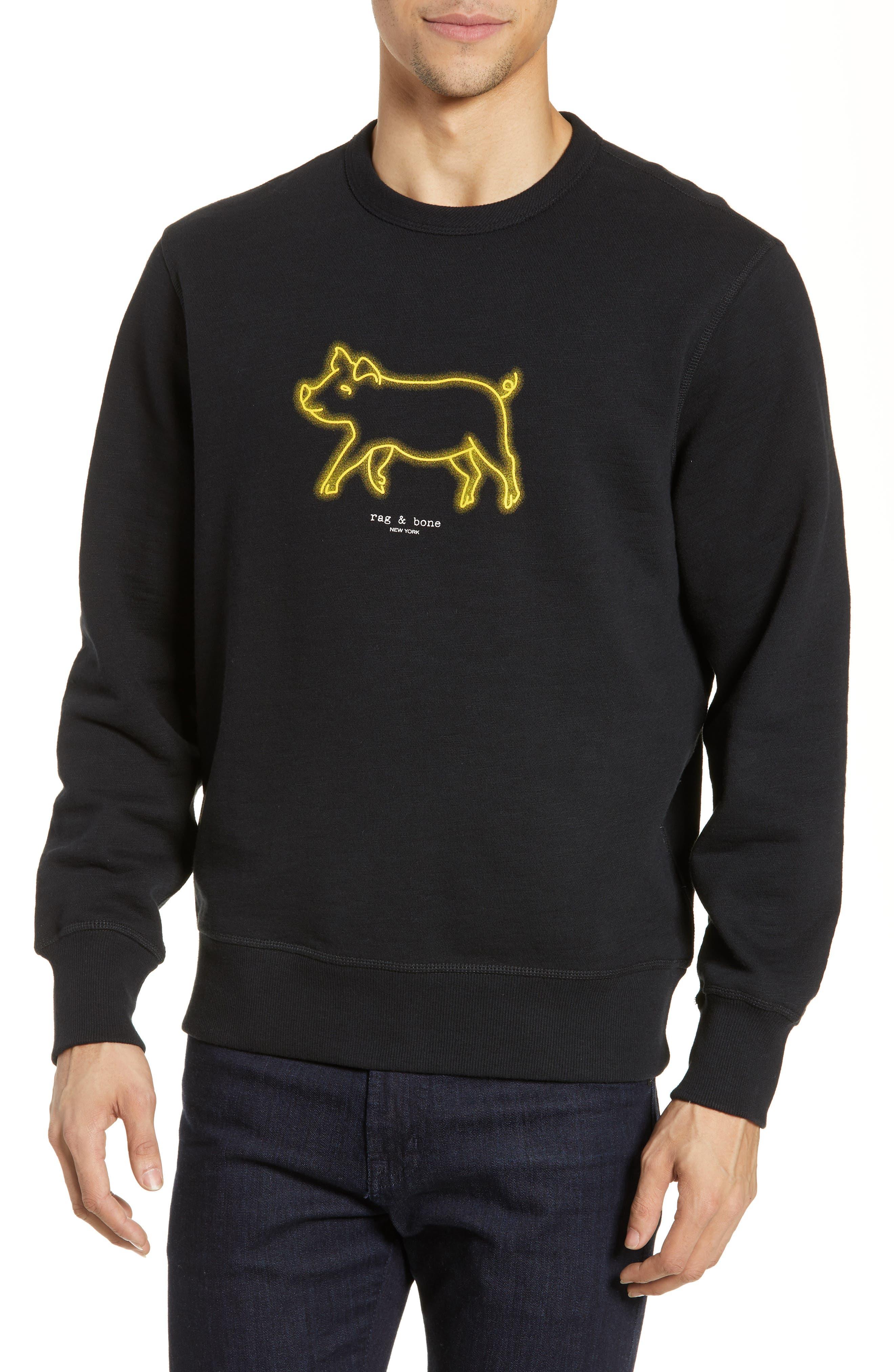 RAG & BONE Year of the Pig Graphic Sweatshirt, Main, color, BLACK