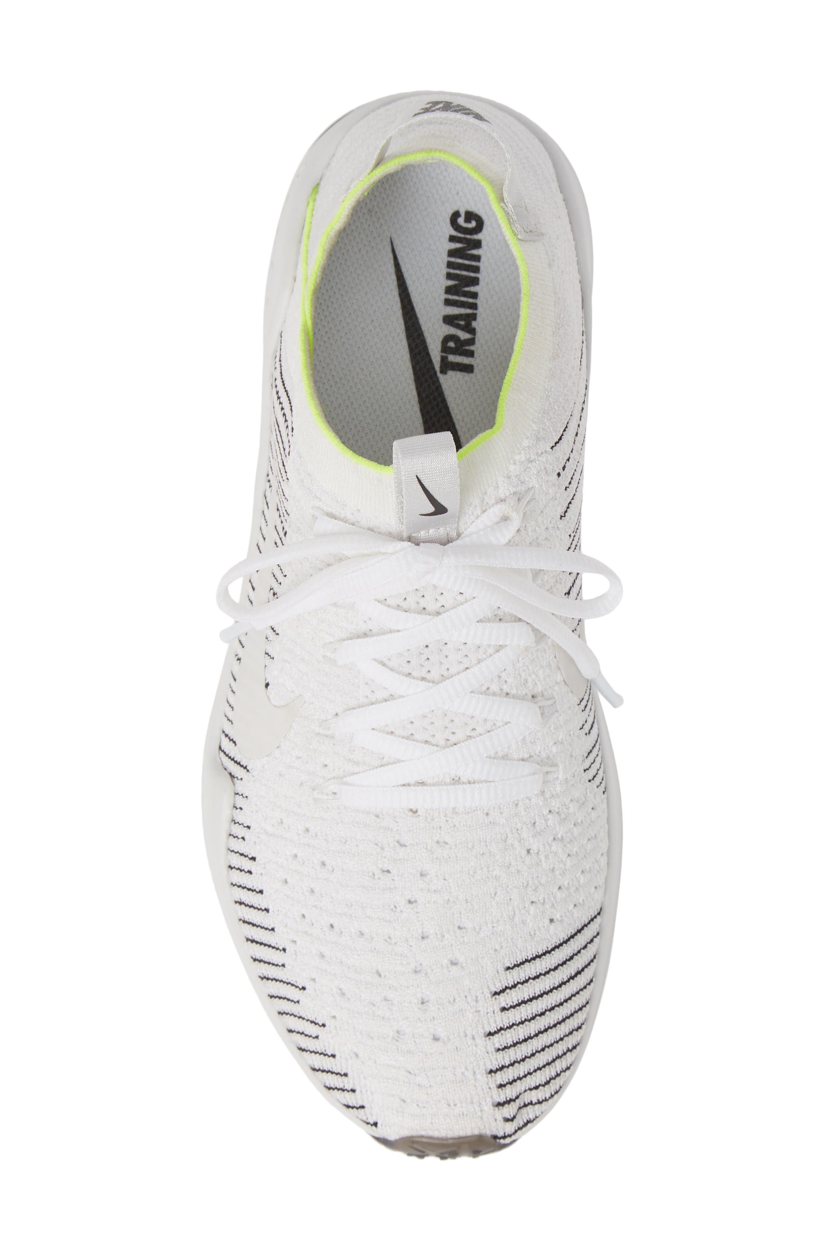 NIKE, Air Zoom Fearless Flyknit 2 Training Sneaker, Alternate thumbnail 5, color, WHITE/ PLATINUM TINT/ BLACK