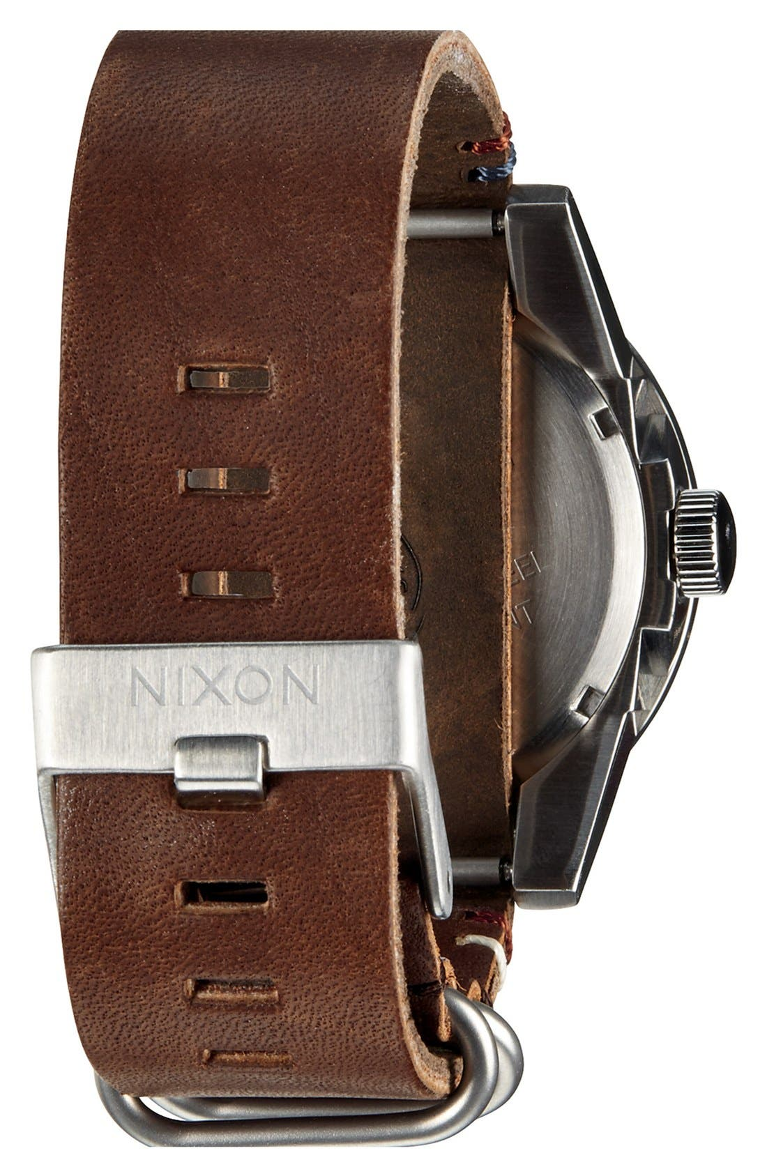 NIXON, 'The Corporal' Watch, 48mm, Alternate thumbnail 4, color, BROWN/ BLACK