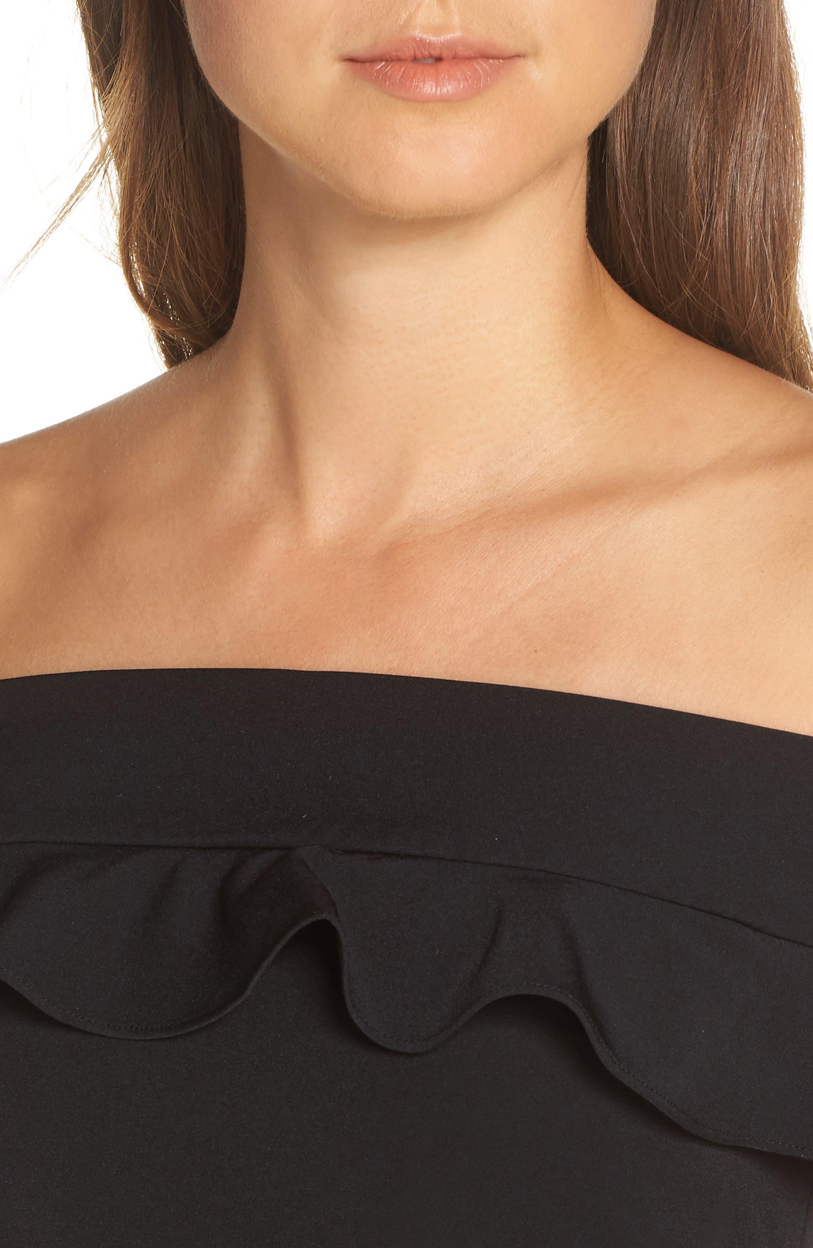 ELIZA J, Ruffle Off the Shoulder Dress, Alternate thumbnail 5, color, 001