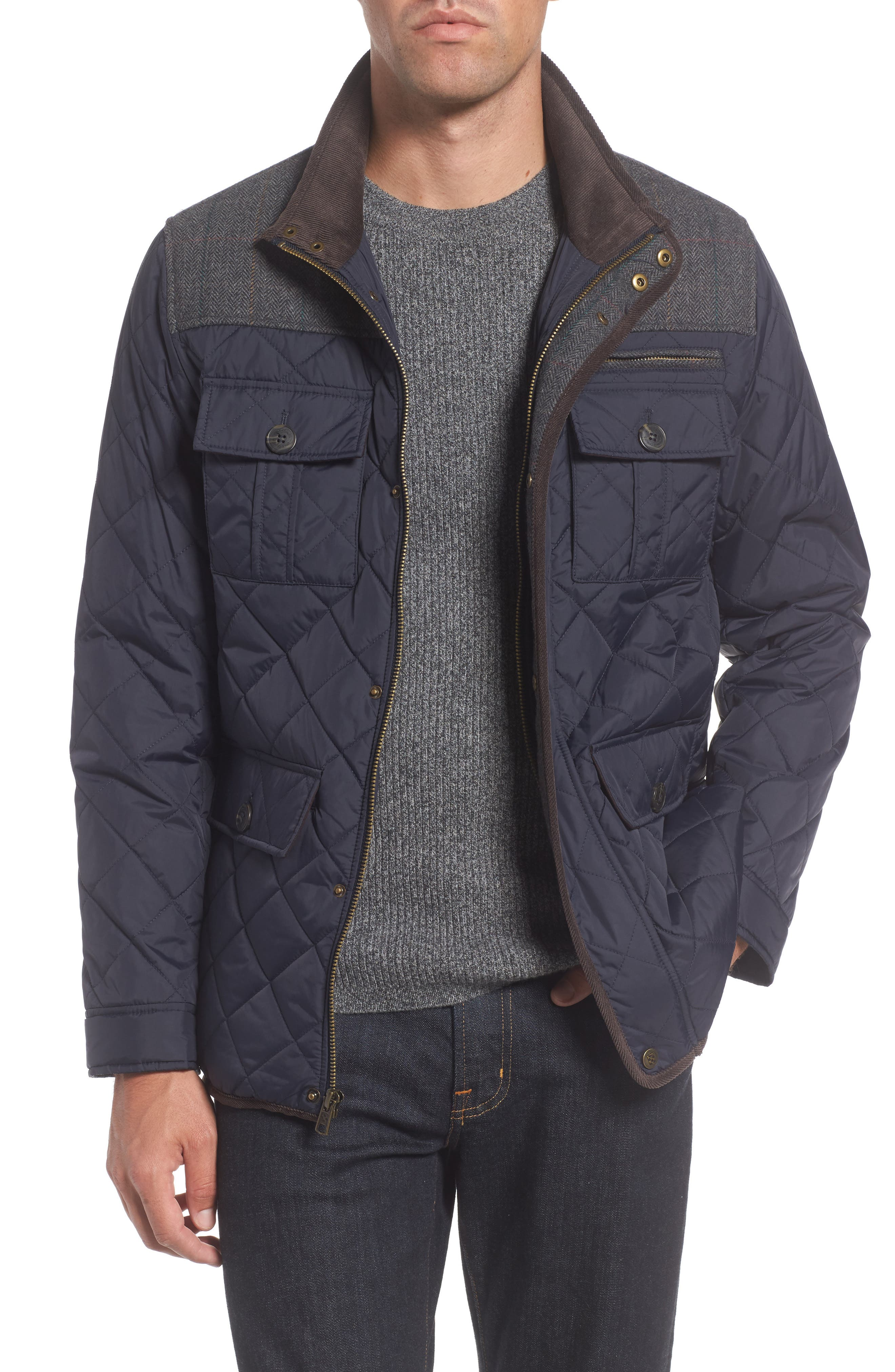 VINCE CAMUTO, Diamond Quilted Full Zip Jacket, Alternate thumbnail 2, color, NAVY