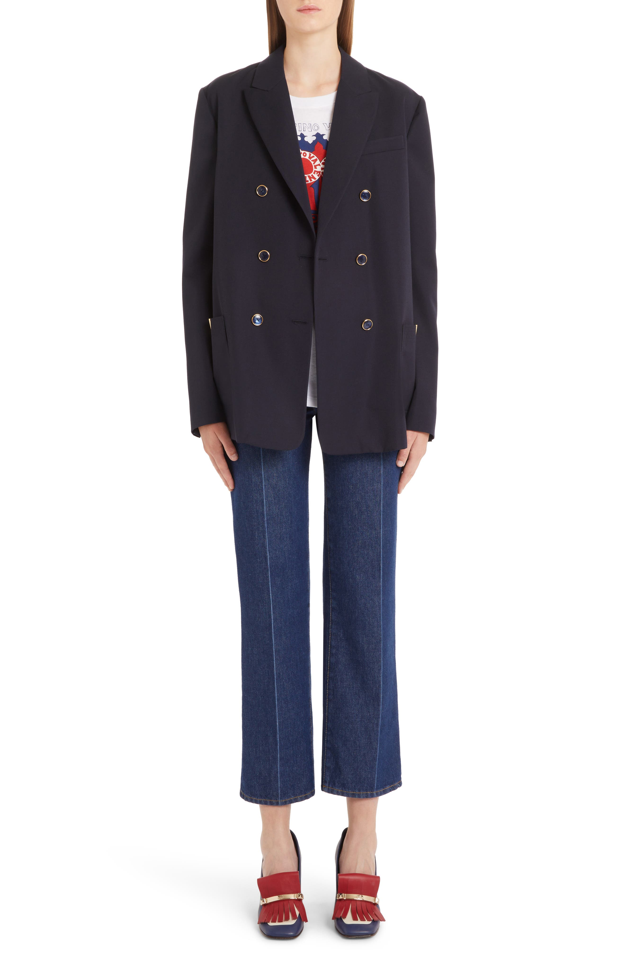 VALENTINO, V-Detail Wool Gabardine Jacket, Alternate thumbnail 6, color, NAVY