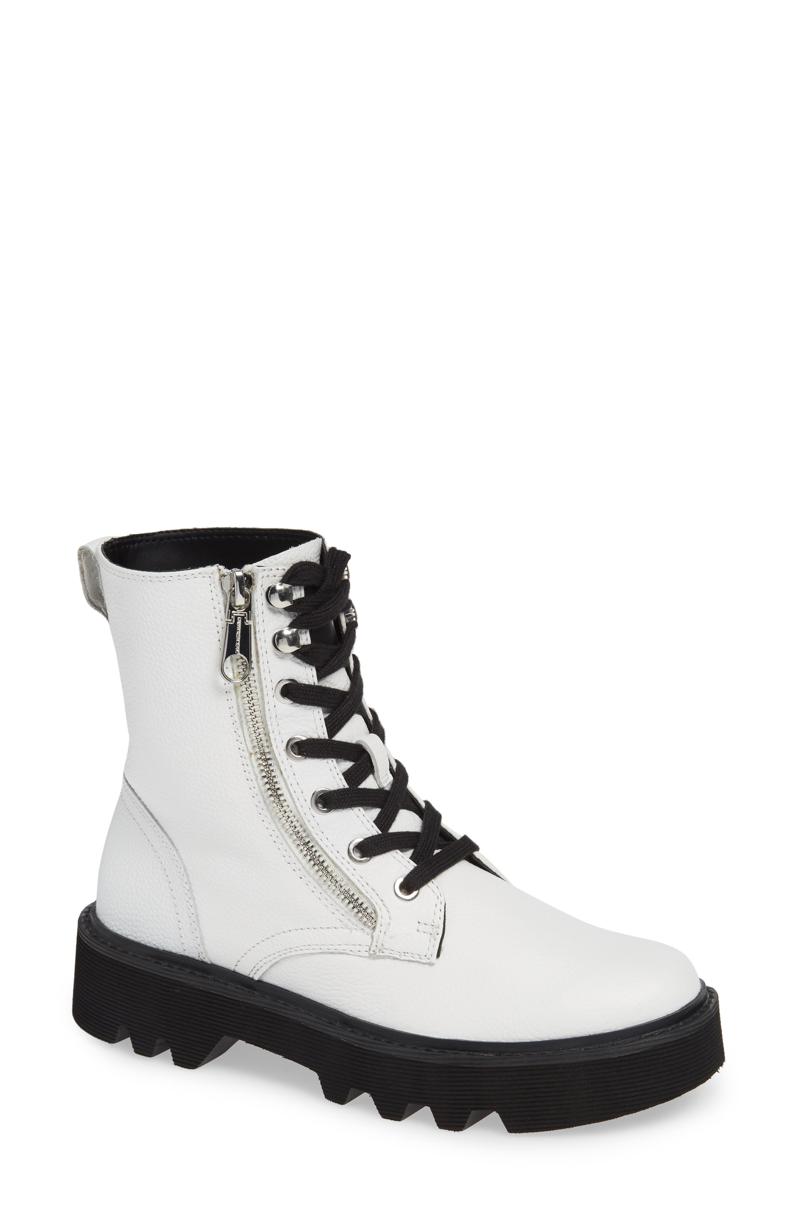CALVIN KLEIN JEANS Diahne Combat Boot, Main, color, WHITE LEATHER