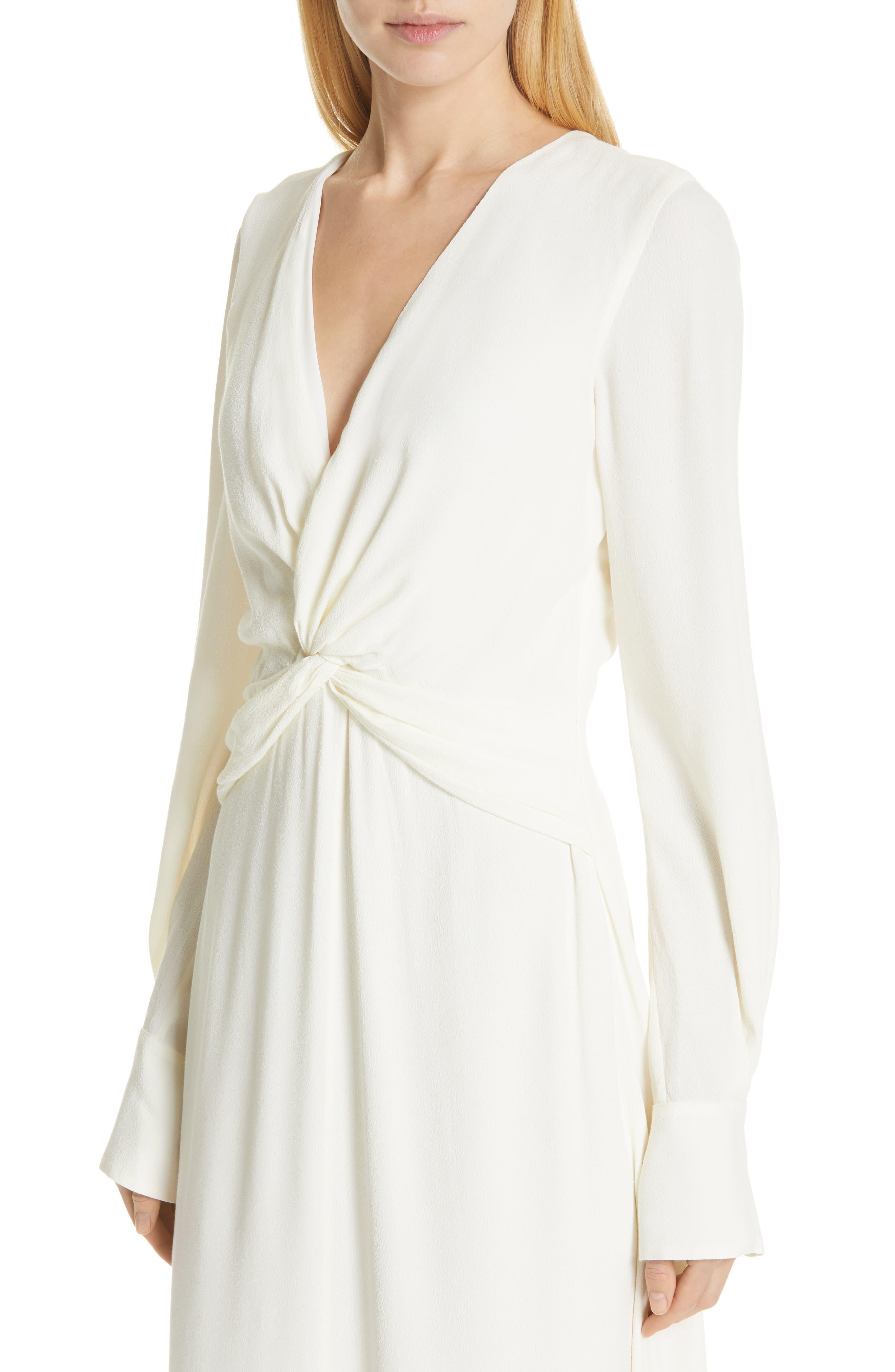 EQUIPMENT, Faun Twist Front Dress, Alternate thumbnail 4, color, NATURE WHITE